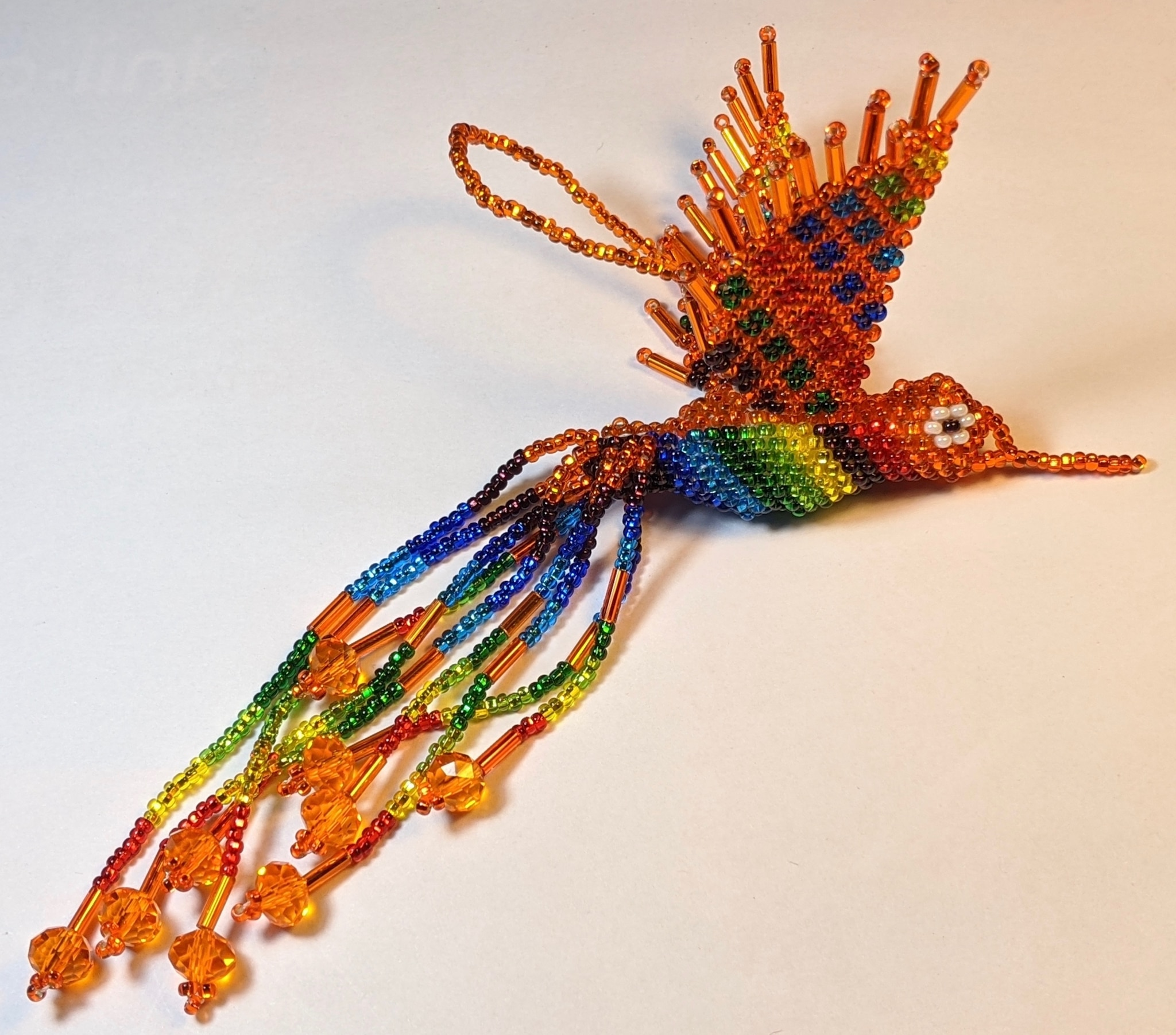 Hummingbird Beaded Ornament - Rainbow with Orange