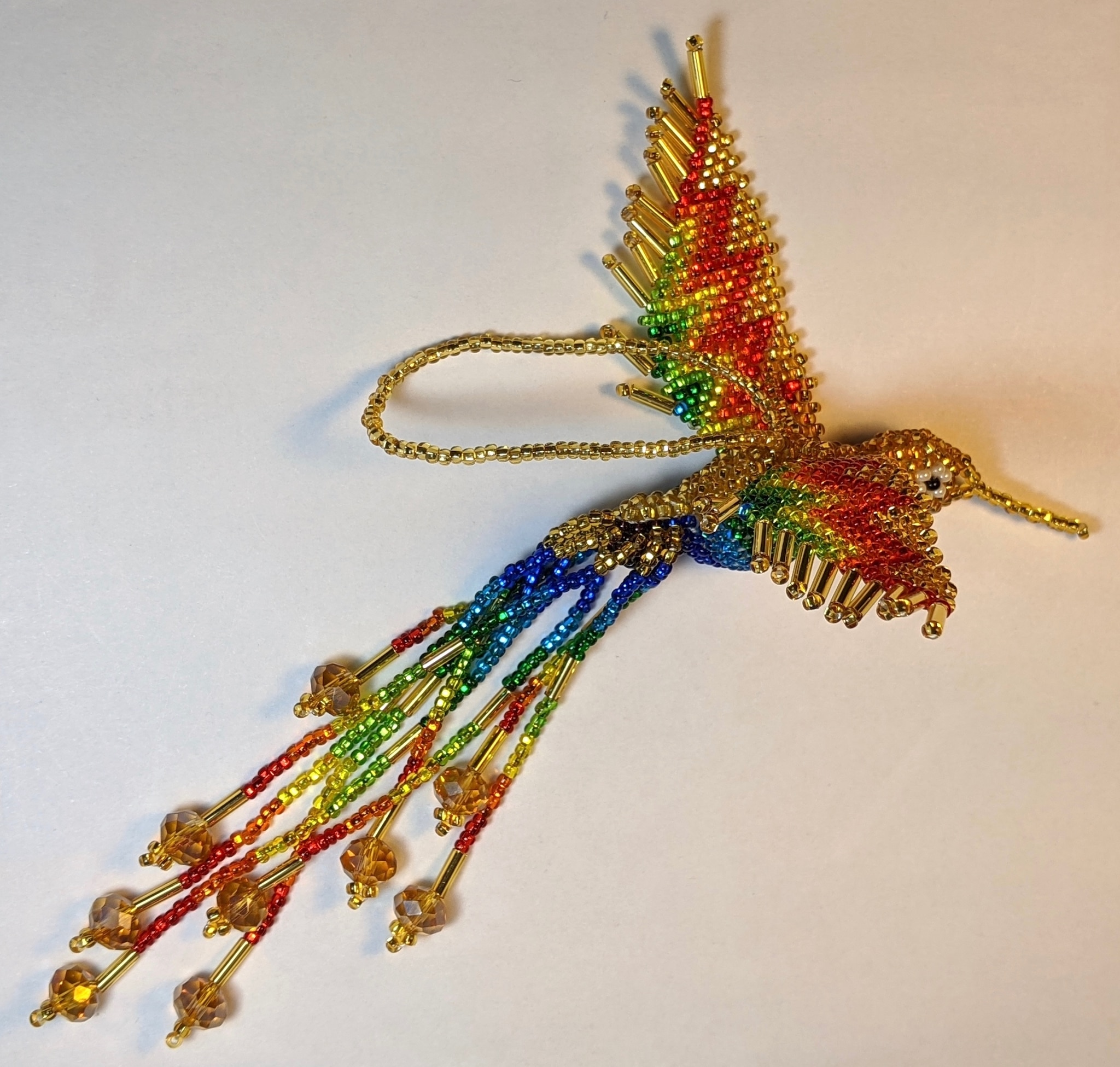 Hummingbird Beaded Ornament - Rainbow with Light Gold