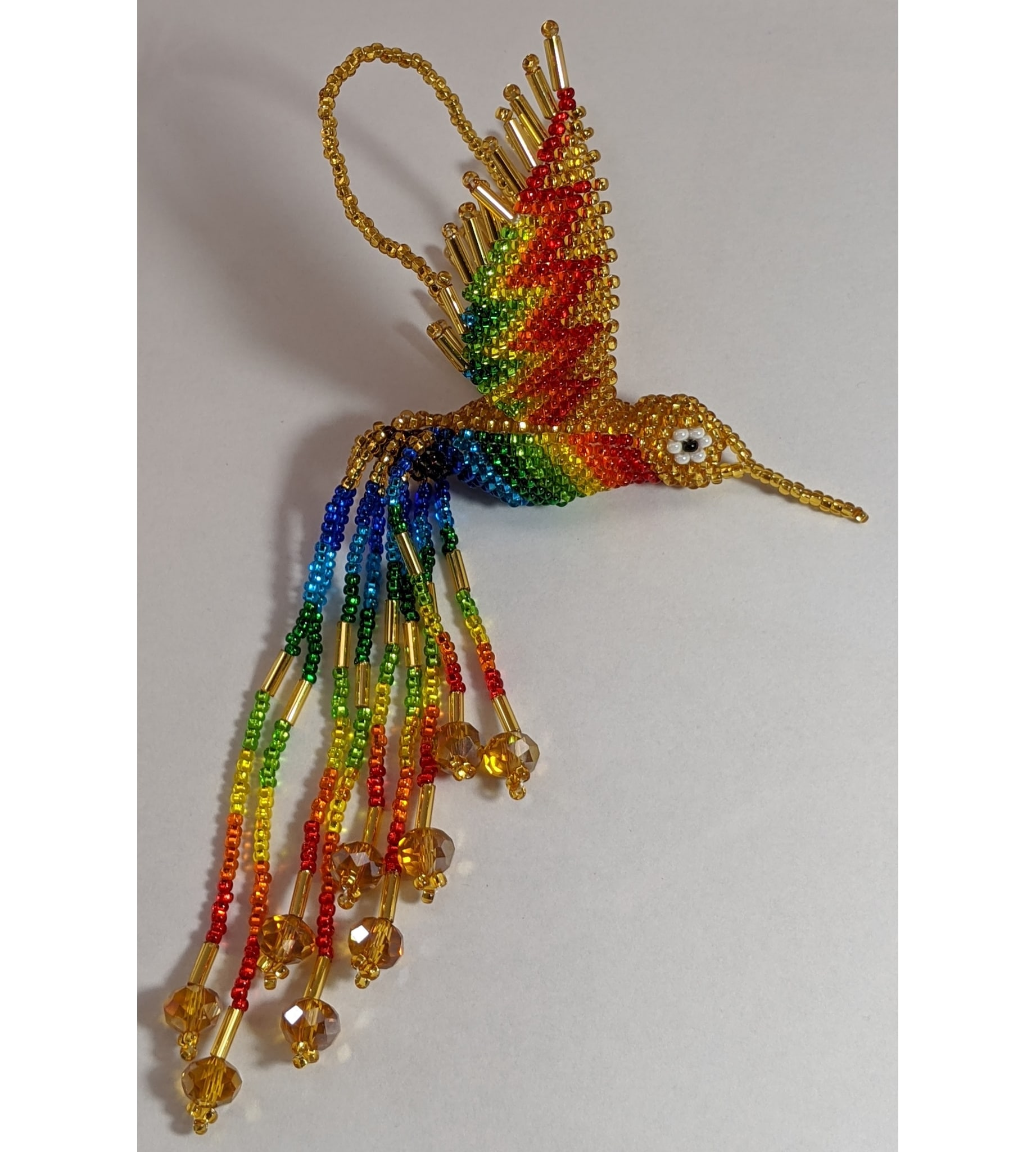 Hummingbird Beaded Ornament - Rainbow with Light Gold