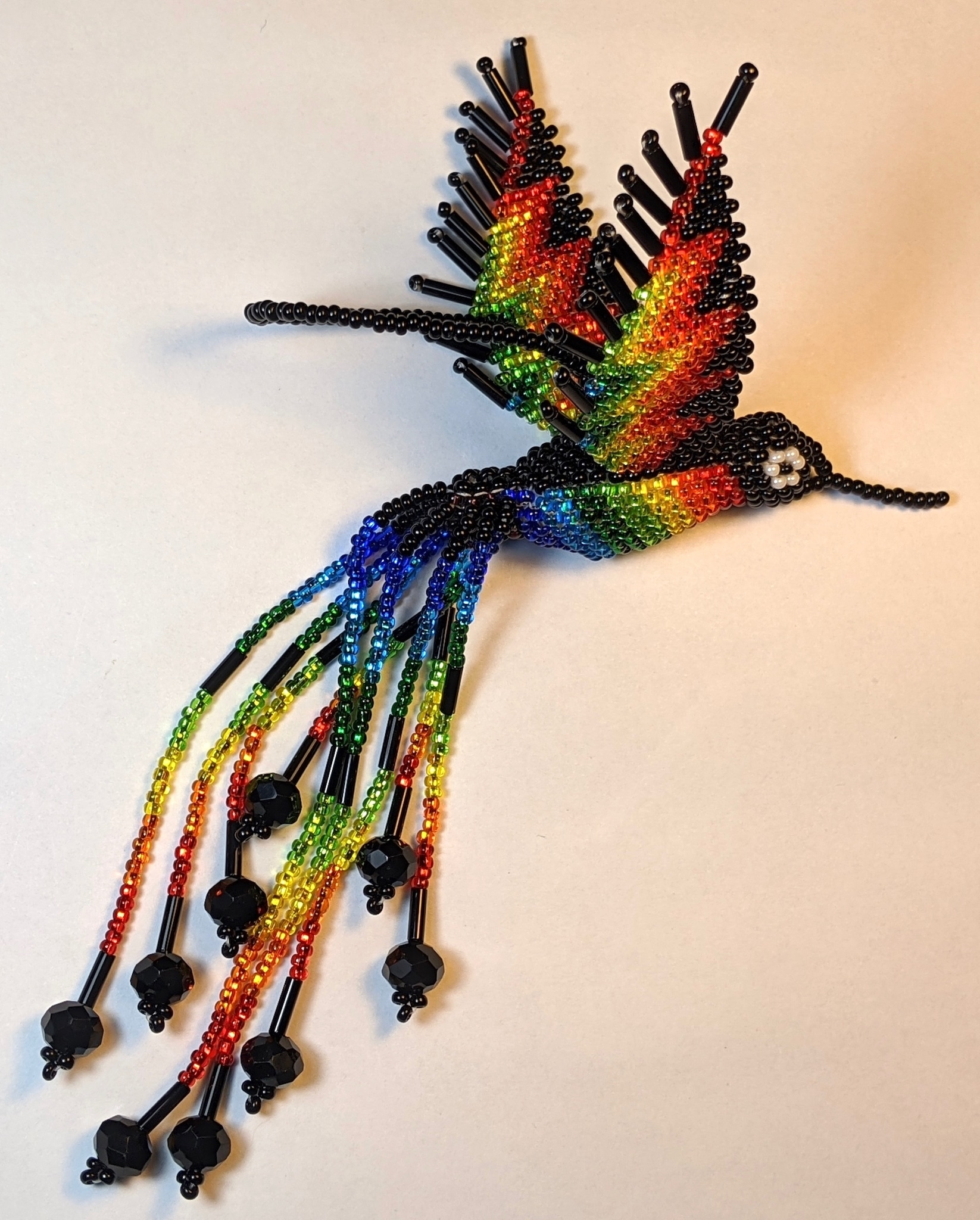 Hummingbird Beaded Ornament - Rainbow with Black