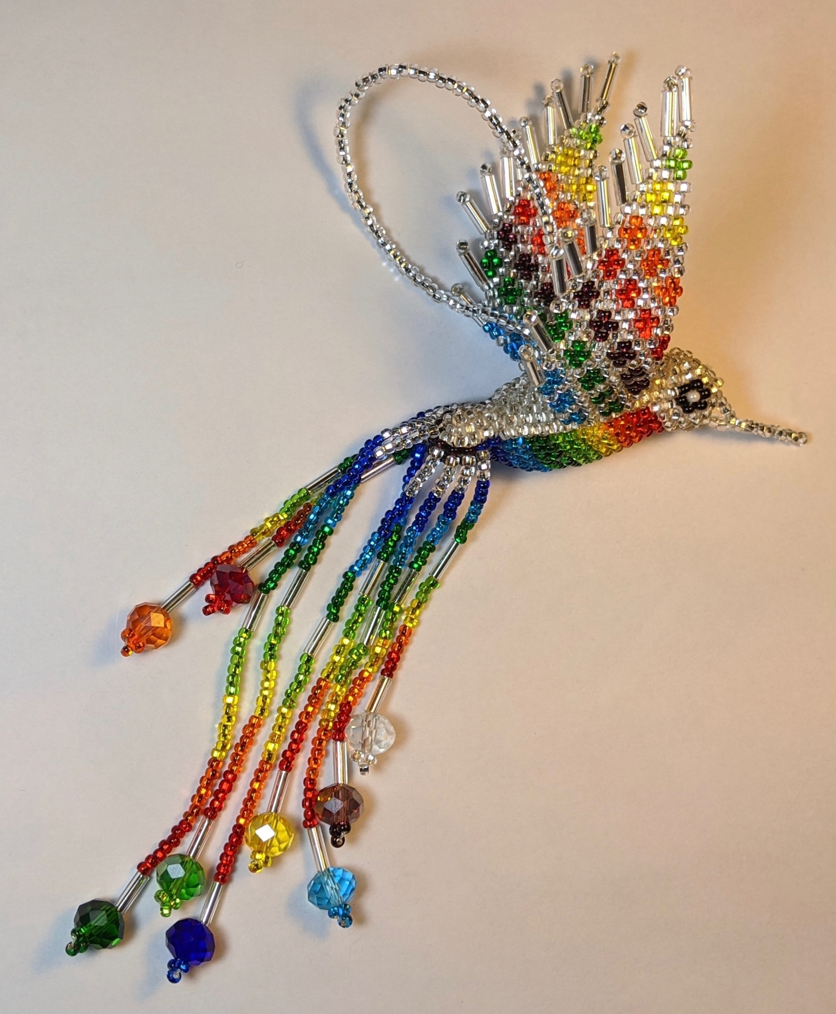 Hummingbird Beaded Ornament - Rainbow with Silver White