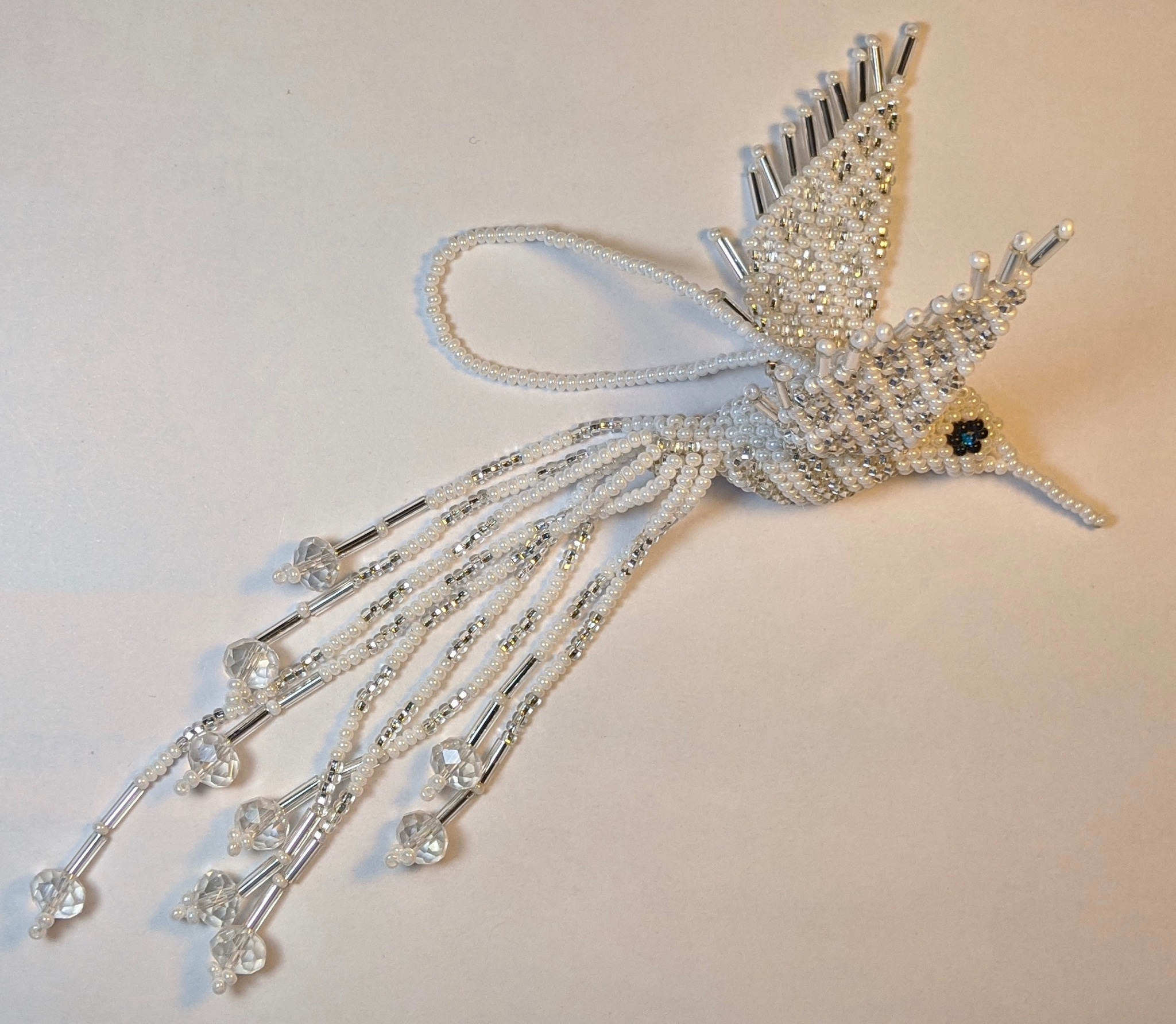 Hummingbird Beaded Ornament - Silver White and Opaque White