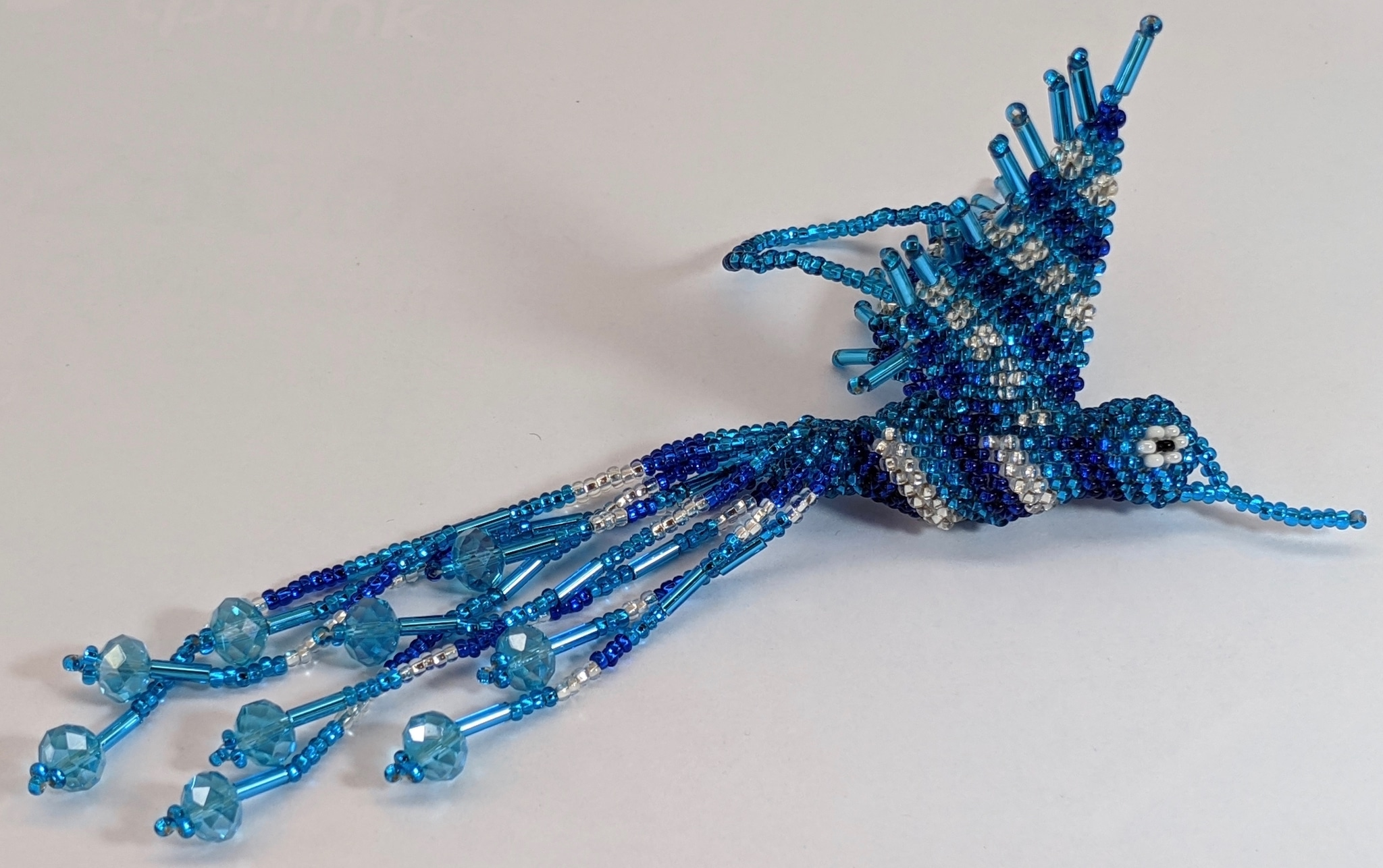 Hummingbird Beaded Ornament - Sapphire Blue, Celestial Blue, and Silver White