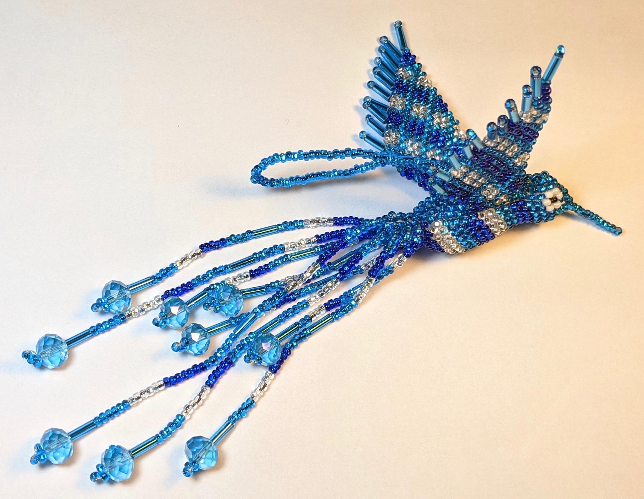 Hummingbird Beaded Ornament - Sapphire Blue, Celestial Blue, and Silver White