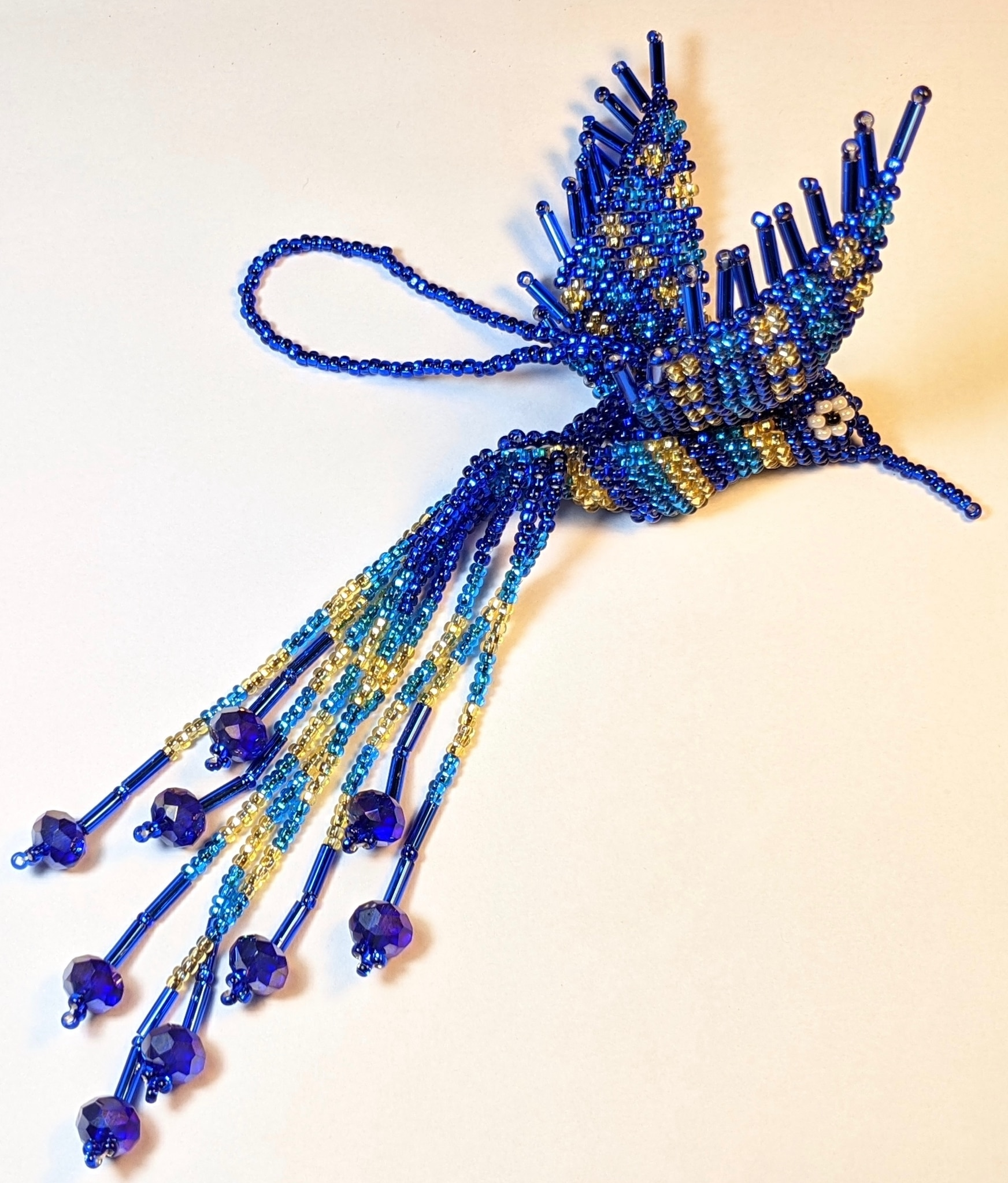 Hummingbird Beaded Ornament - Sapphire Blue, Celestial Blue, and Light Gold
