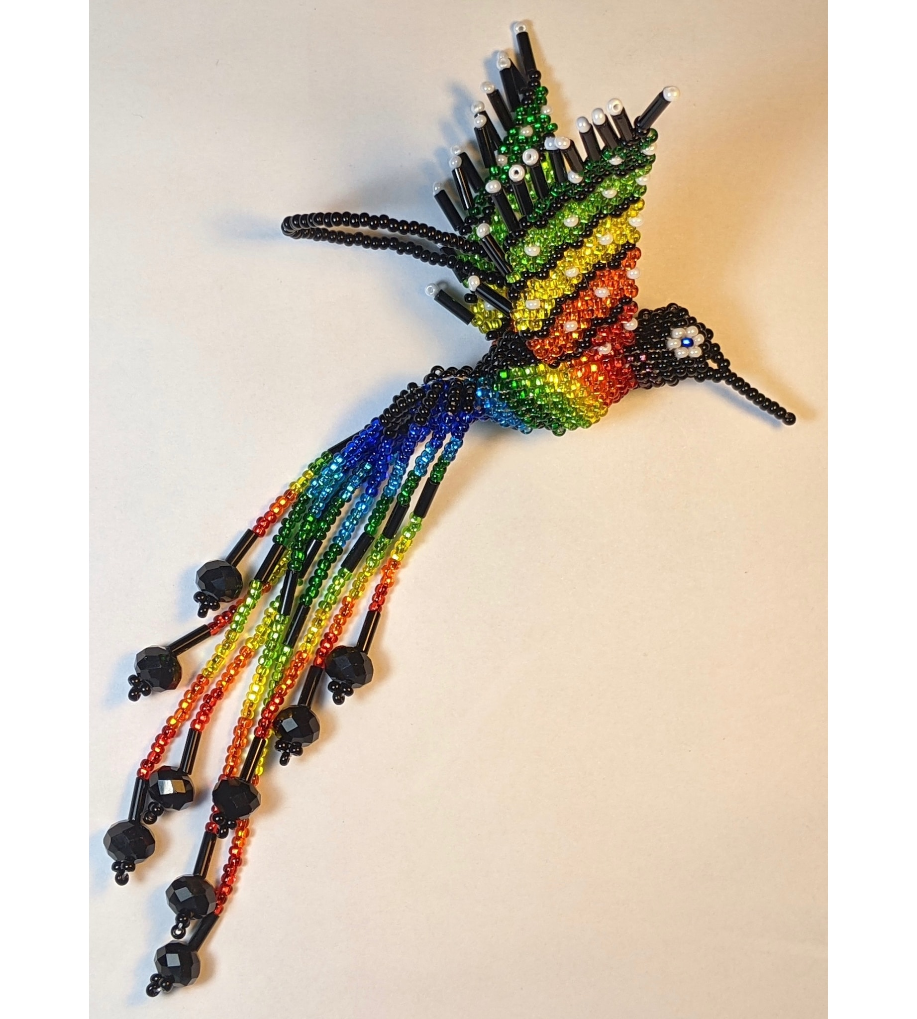 Hummingbird Beaded Ornament - Rainbow with Black and Pearl White Accents