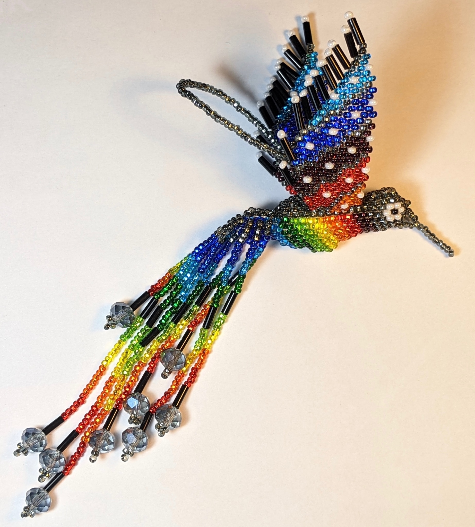 Hummingbird Beaded Ornament - Rainbow with Silver Gray and Pearl White Accents
