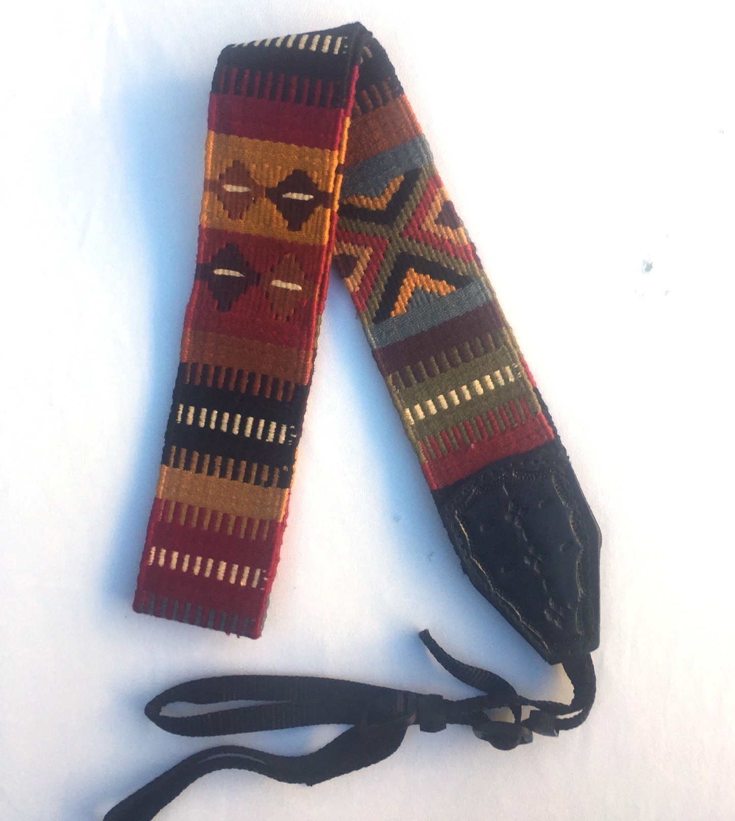 Handwoven Cotton and Leather Camera Strap - Autumn with Geometric Patterns