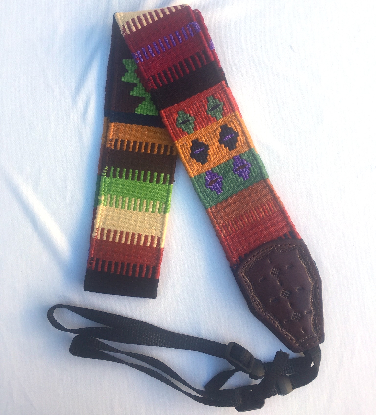 Handwoven Cotton and Leather Camera Strap - Autumn with Pale Green and Purple with Diamonds and Geometric Designs