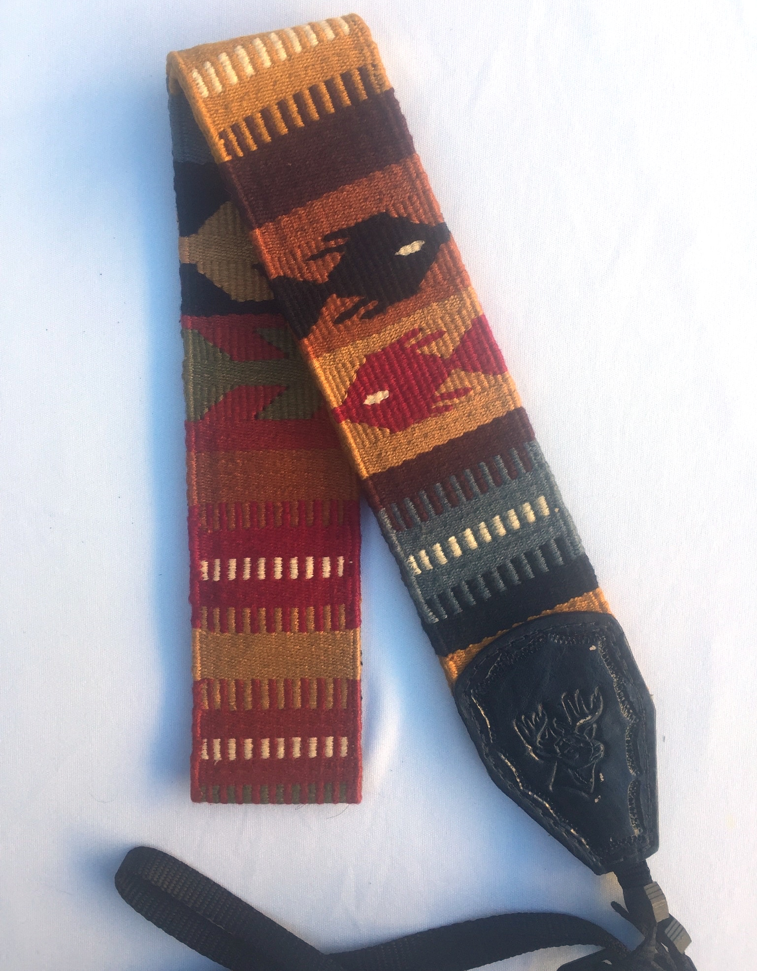 Handwoven Cotton and Leather Camera Strap - Earth Tones with Fish and Arrows Pattern