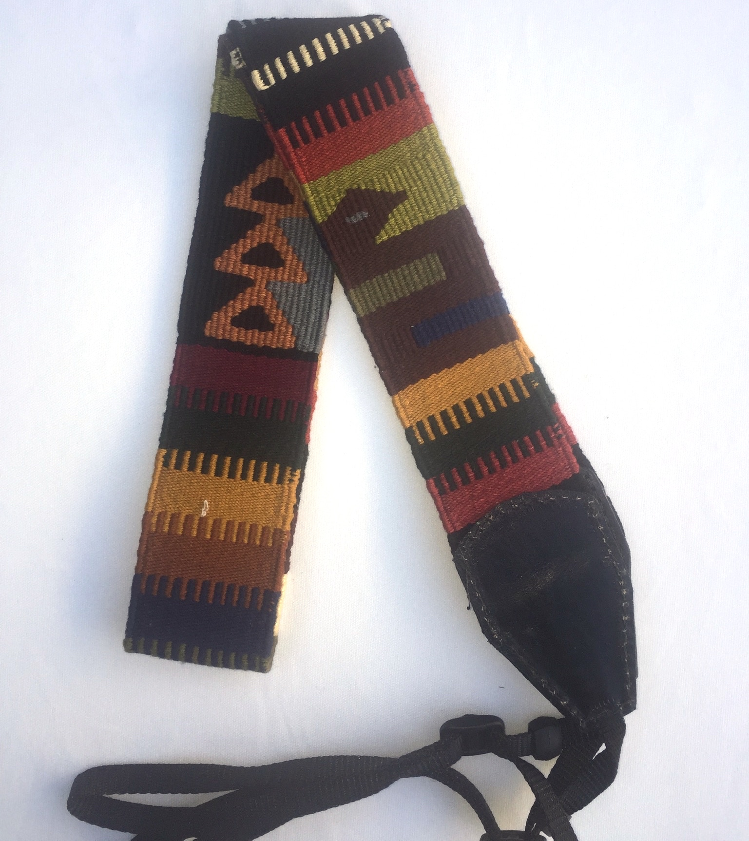 Handwoven Cotton and Leather Camera Strap - Earth Tones with Serpents and Triangles