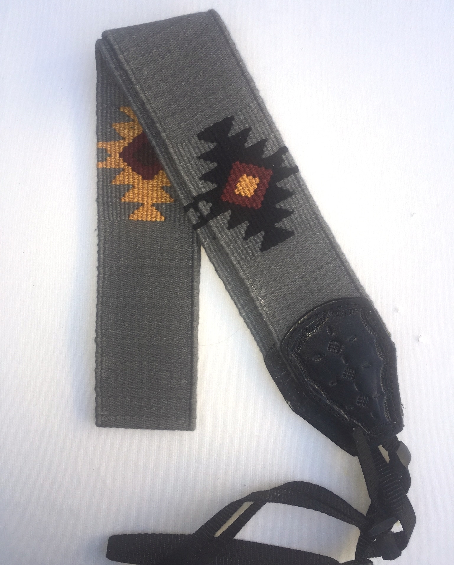 Handwoven Cotton and Leather Camera Strap - Gray with Geometric Diamond Pattern