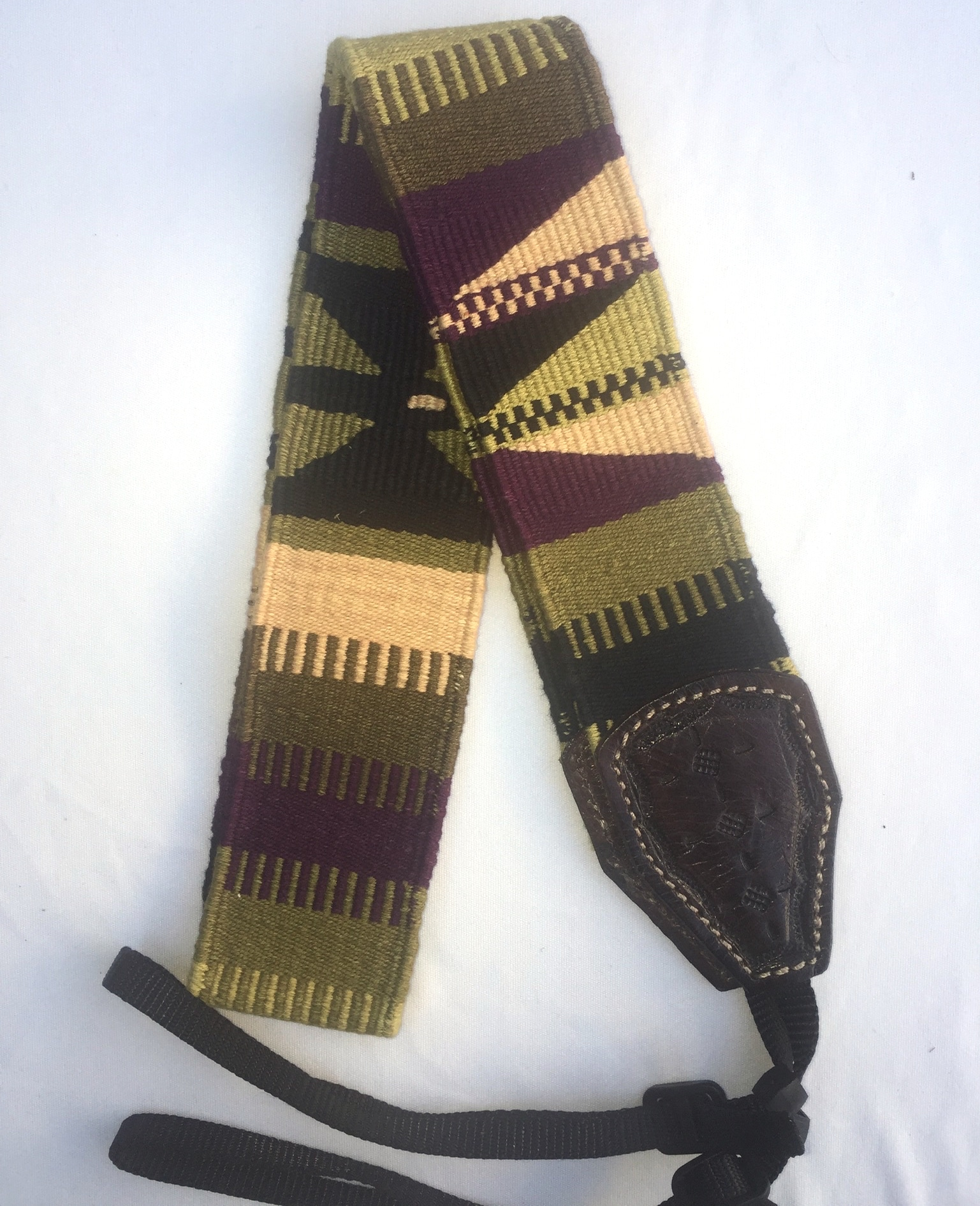 Handwoven Cotton and Leather Camera Strap - Green, Purple, Black and Gold with Butterflies and Geometric Patterns
