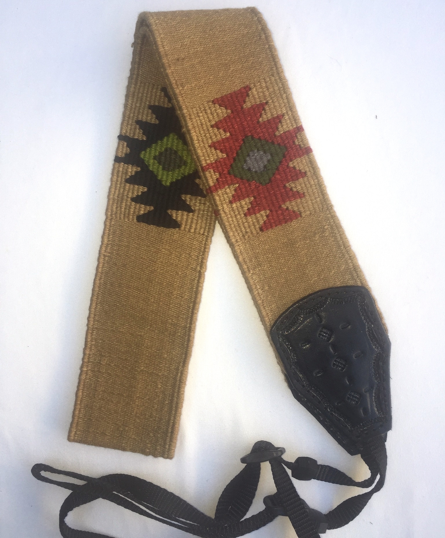 Handwoven Cotton and Leather Camera Strap - Tan with Geometric Diamonds