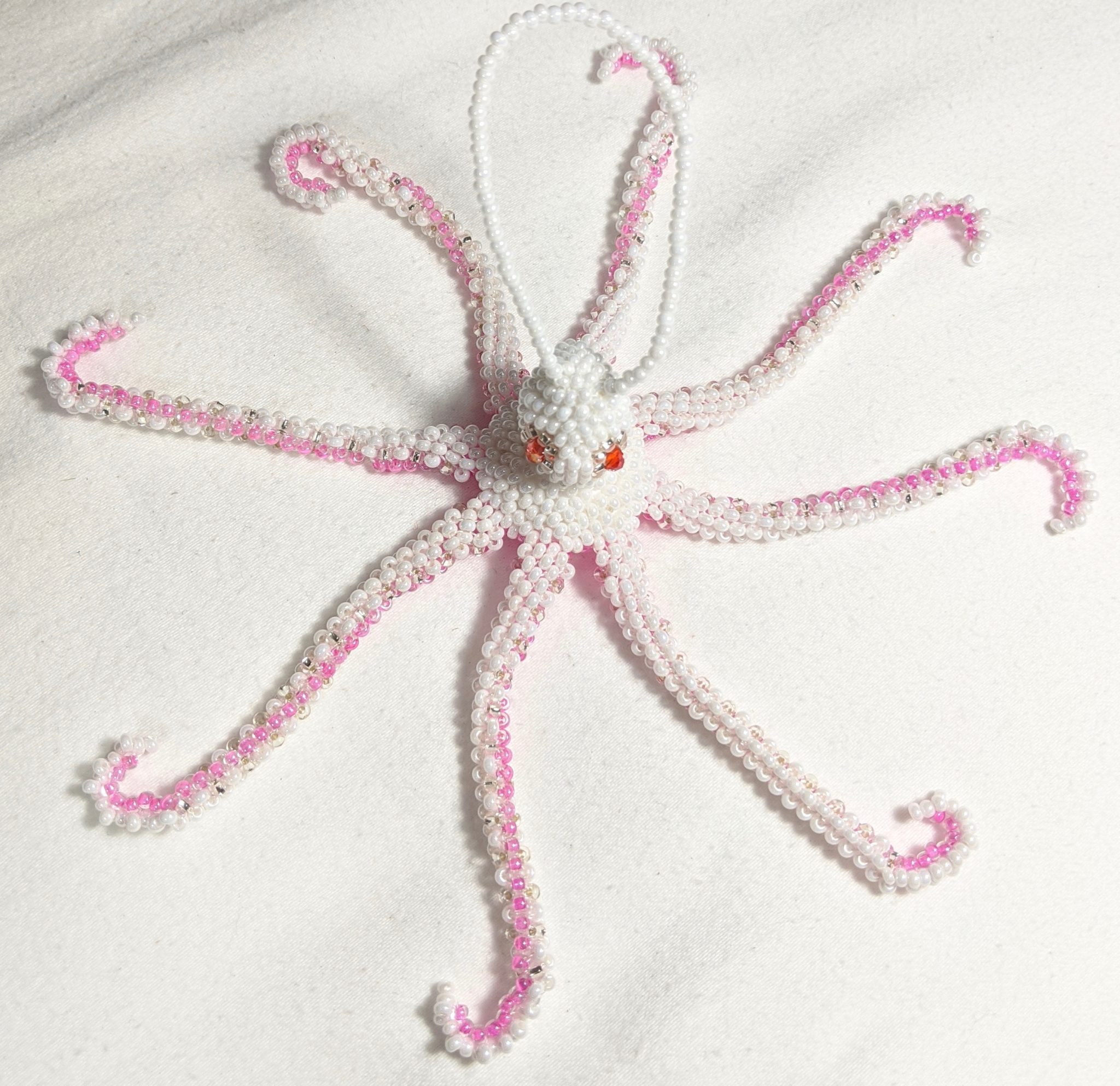 Octopus Beaded Ornament - Pink and Pearl White