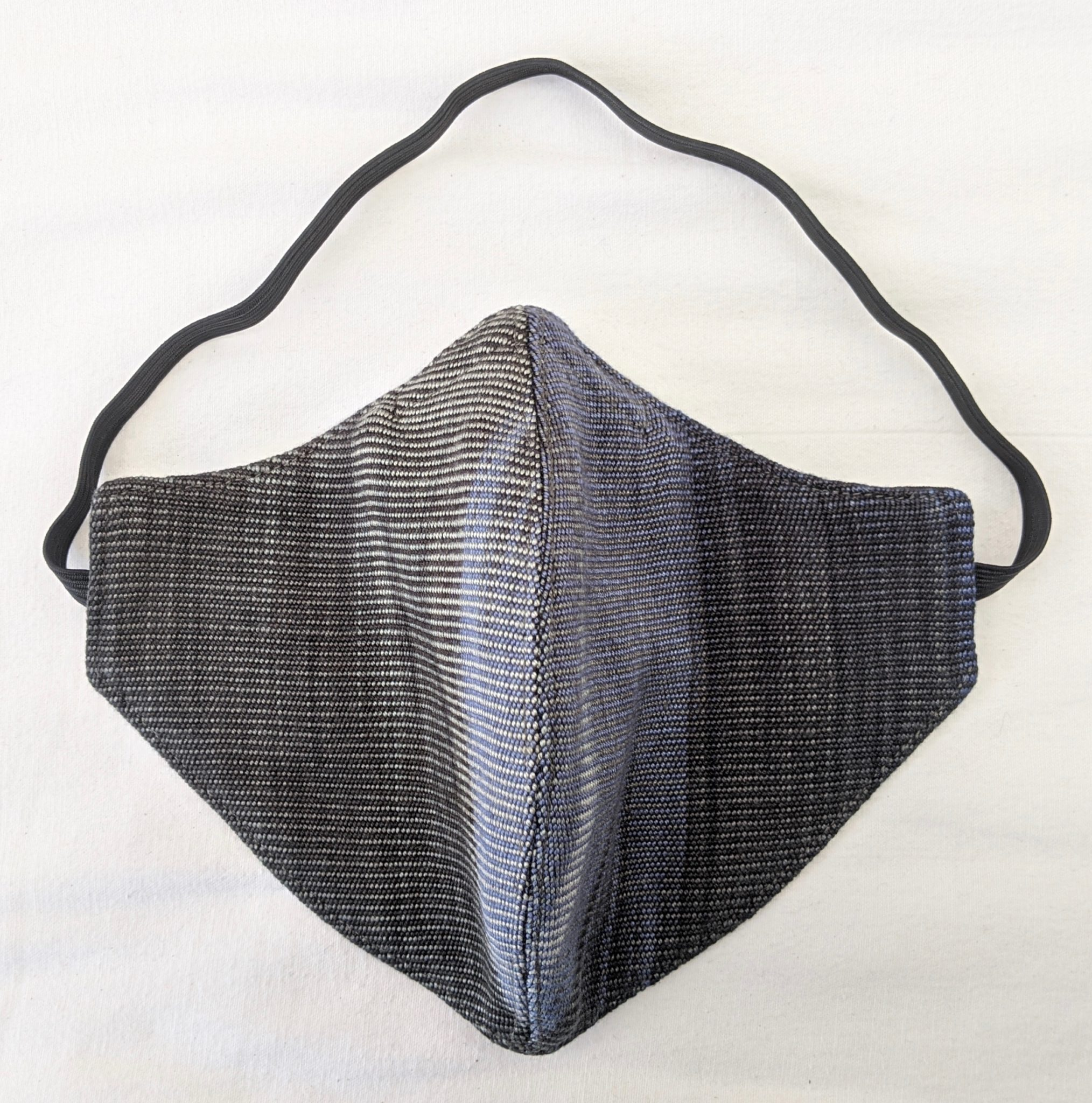 Handwoven Lightweight Bamboo Face Mask with Elastic Behind Head - Blue, Grays, Black