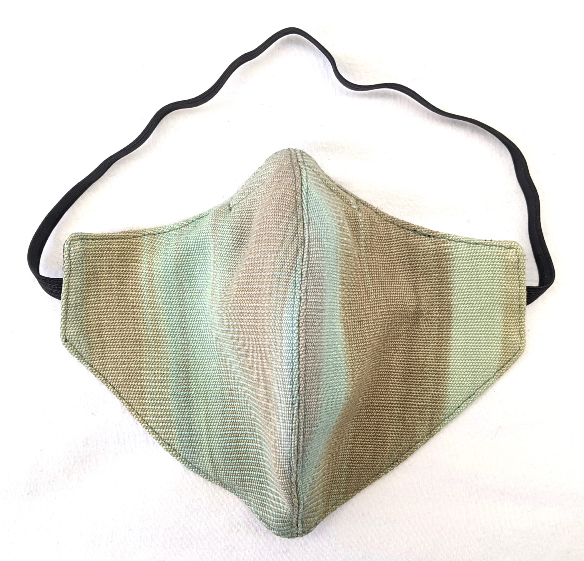 Handwoven Lightweight Bamboo Face Mask with Elastic Behind Head - Pale Greens, Beige