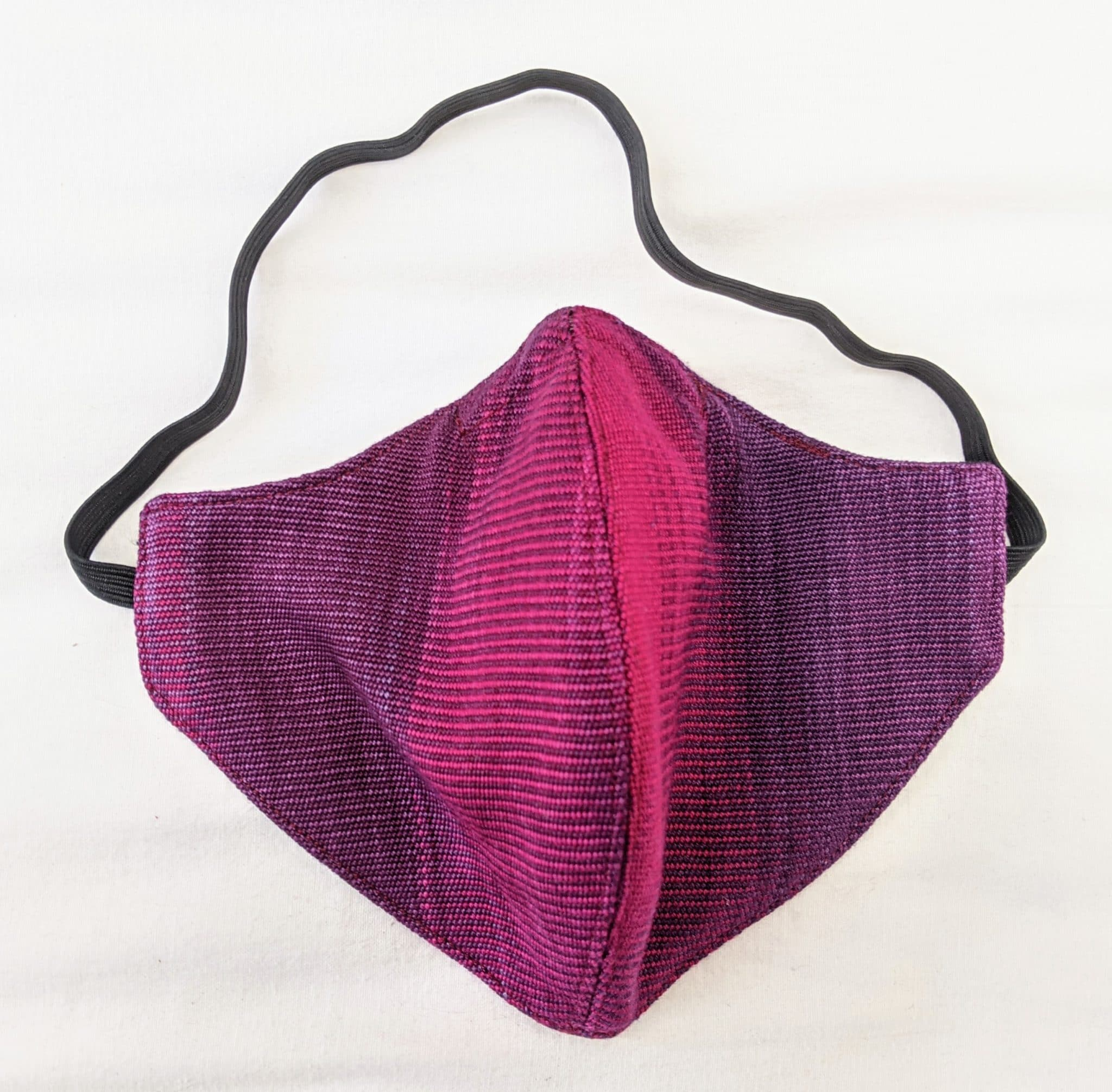 Handwoven Lightweight Bamboo Face Mask with Elastic Behind Head - Magenta, Purple