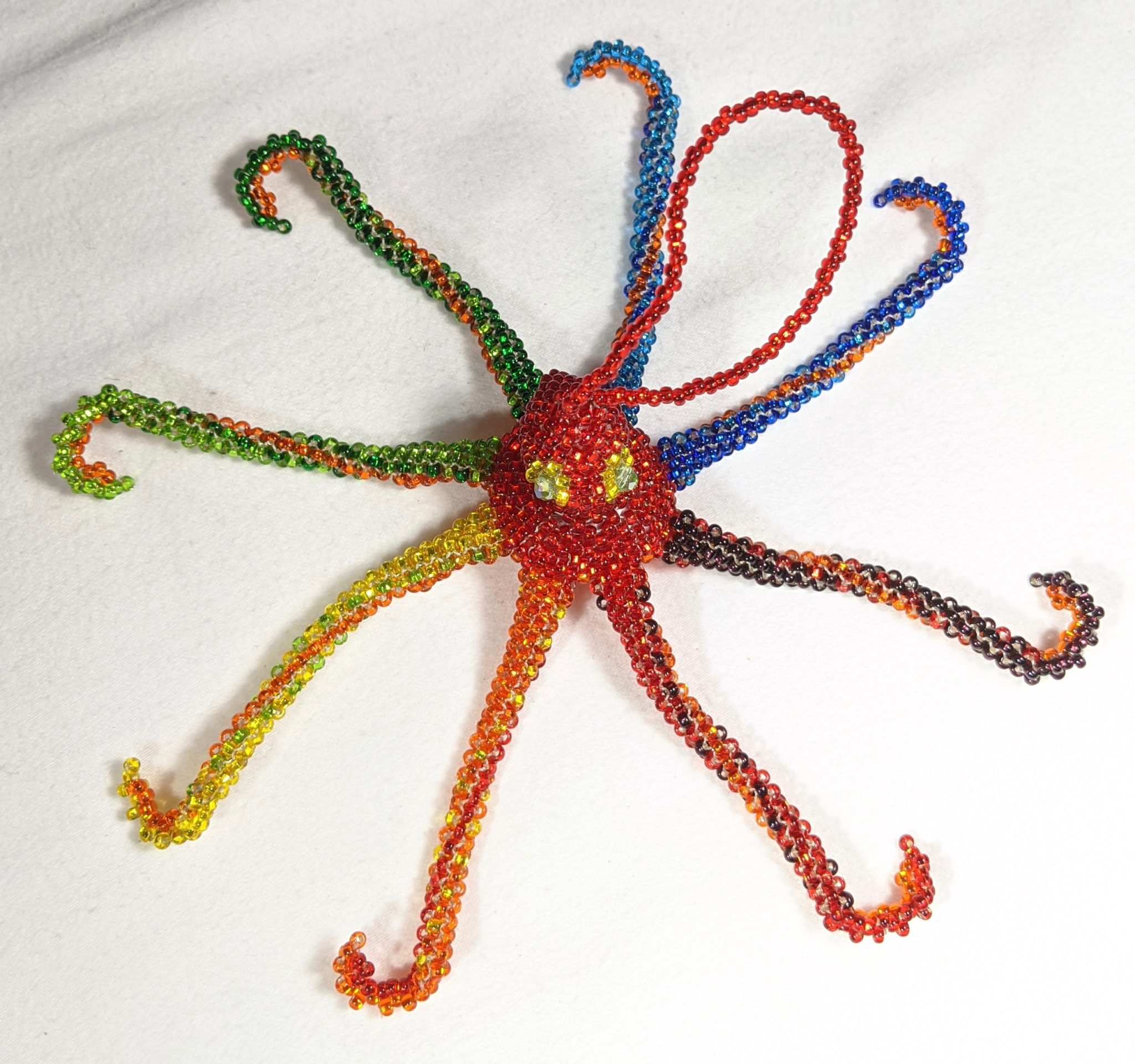 Octopus Beaded Ornament - Rainbow with Red