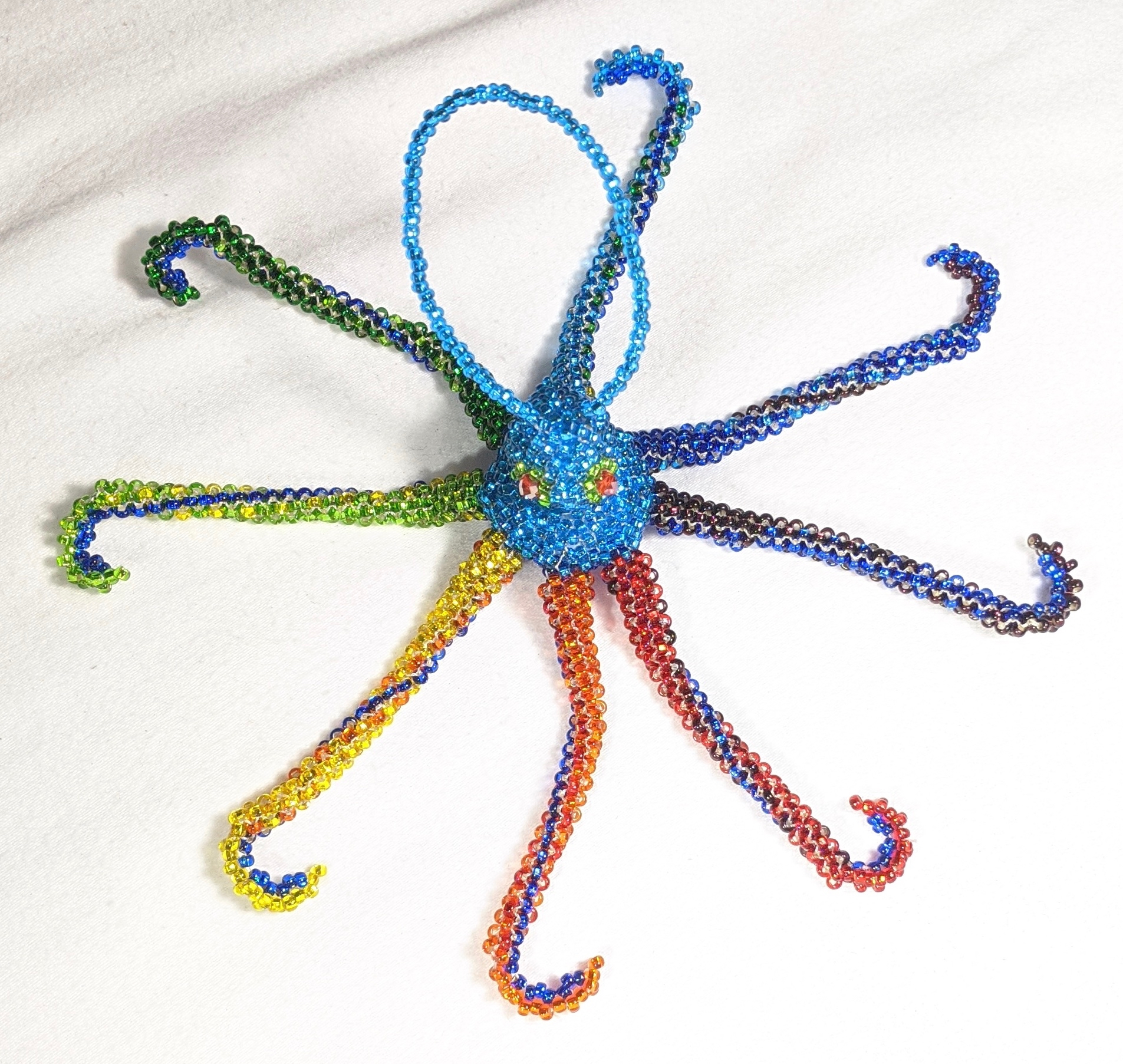 Octopus Beaded Ornament- Rainbow with Celestial Blue