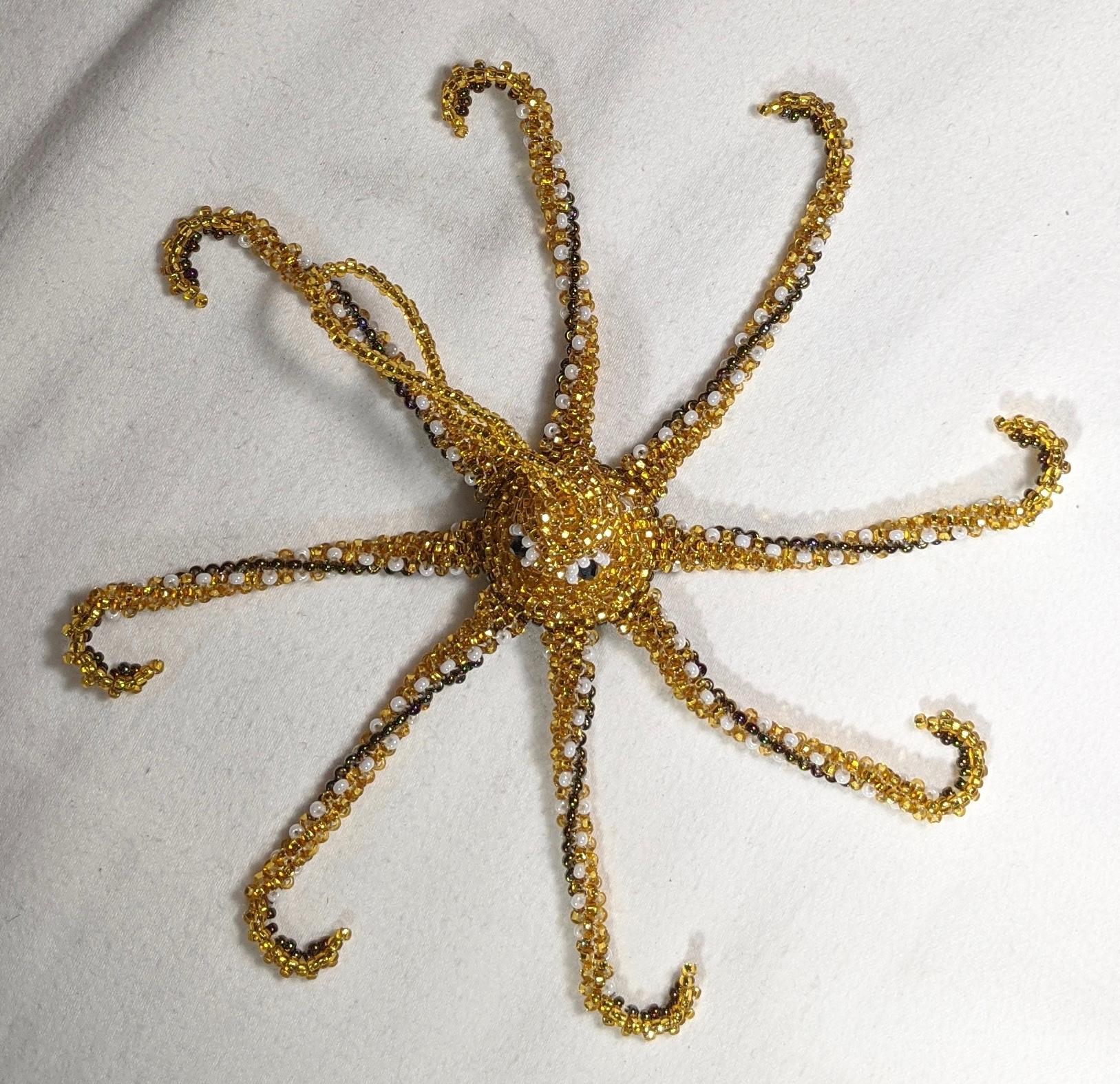 Octopus Beaded Ornament - Light Gold