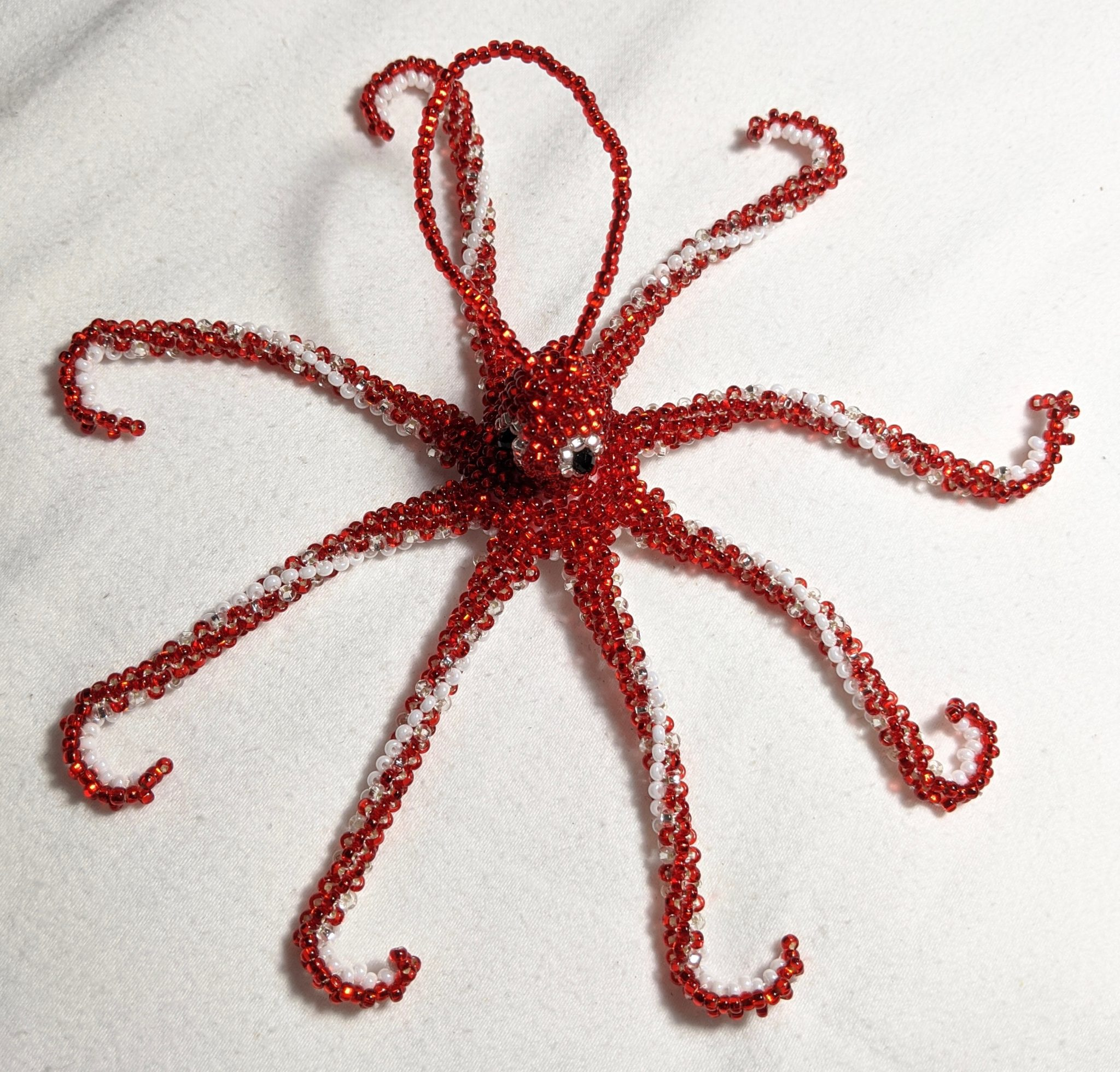 Octopus Beaded Ornament - Red
