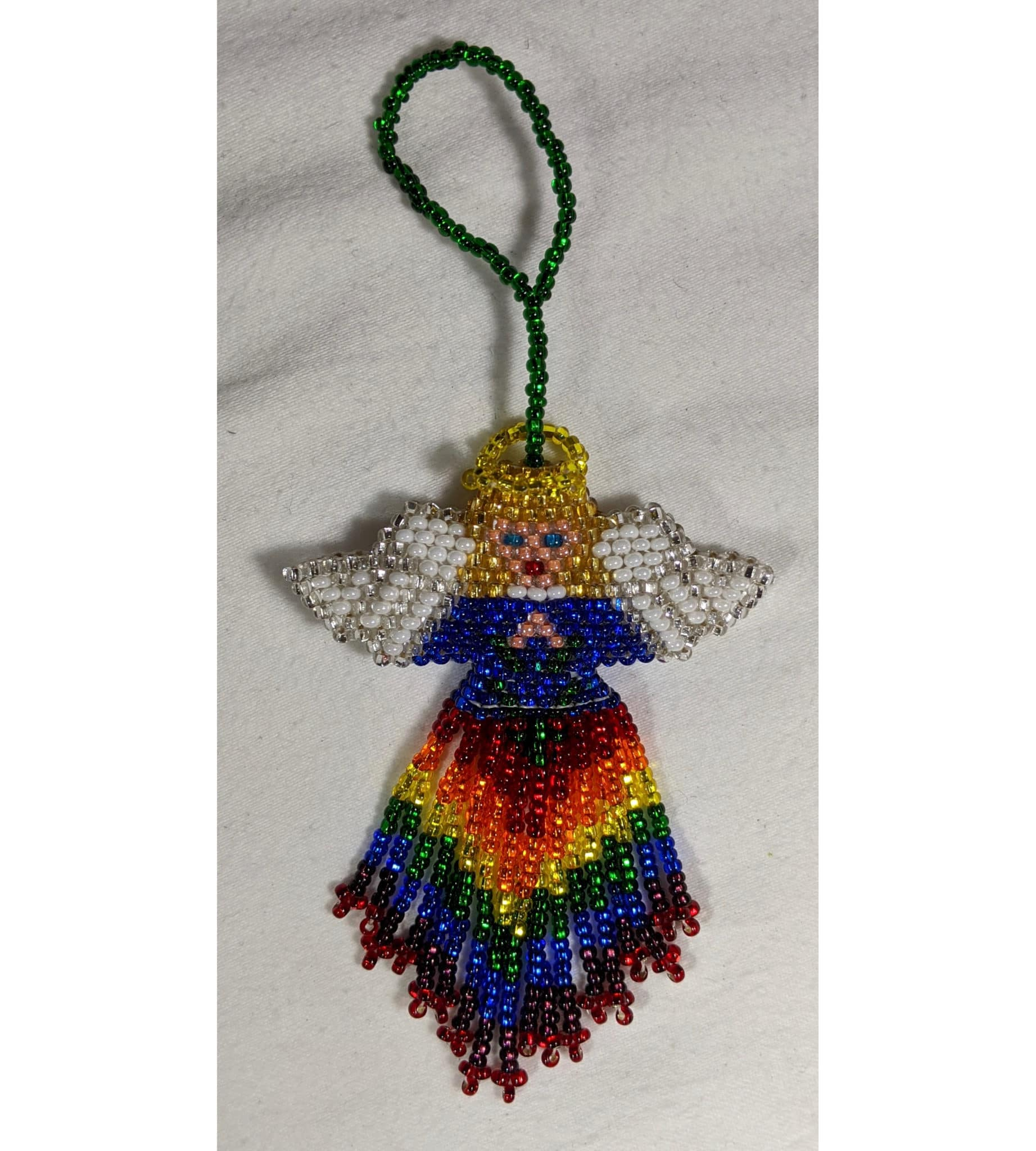 Angel Beaded Ornament - White Face - Blond Hair - Variety of Skirt Colors