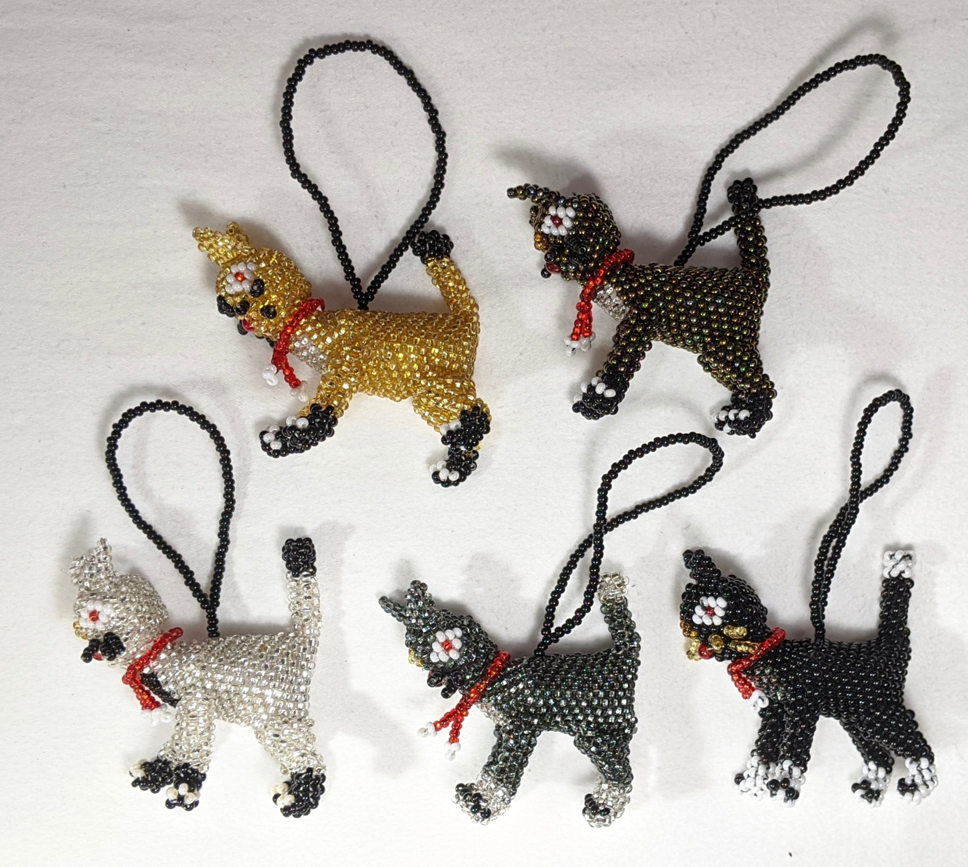 Christmas Cat Beaded Ornament