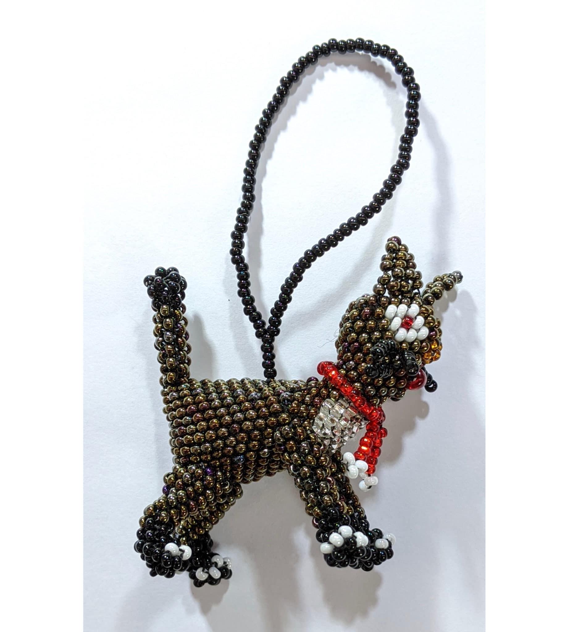 Christmas Cat Beaded Ornament