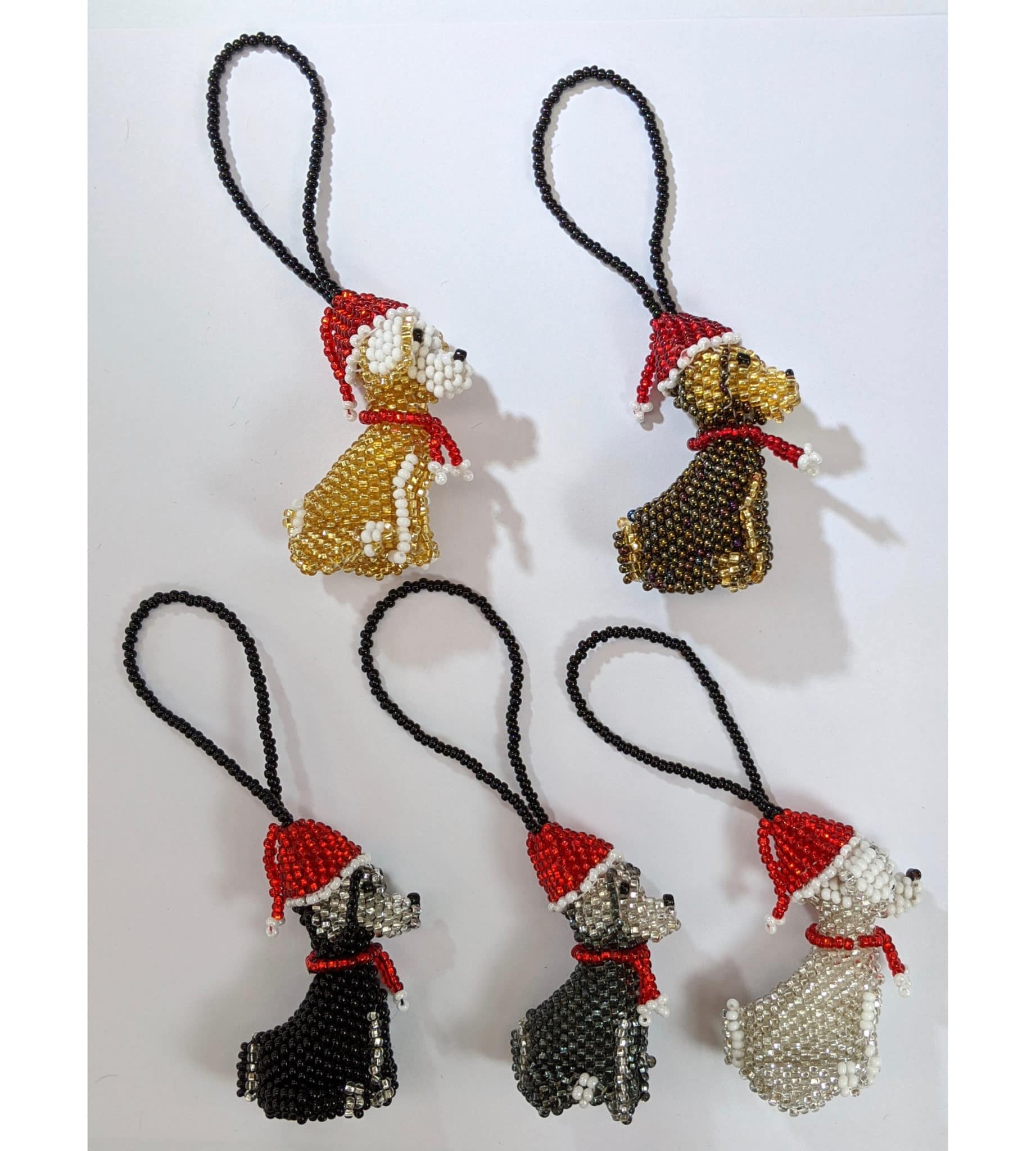 Dog Beaded Ornament - Christmas