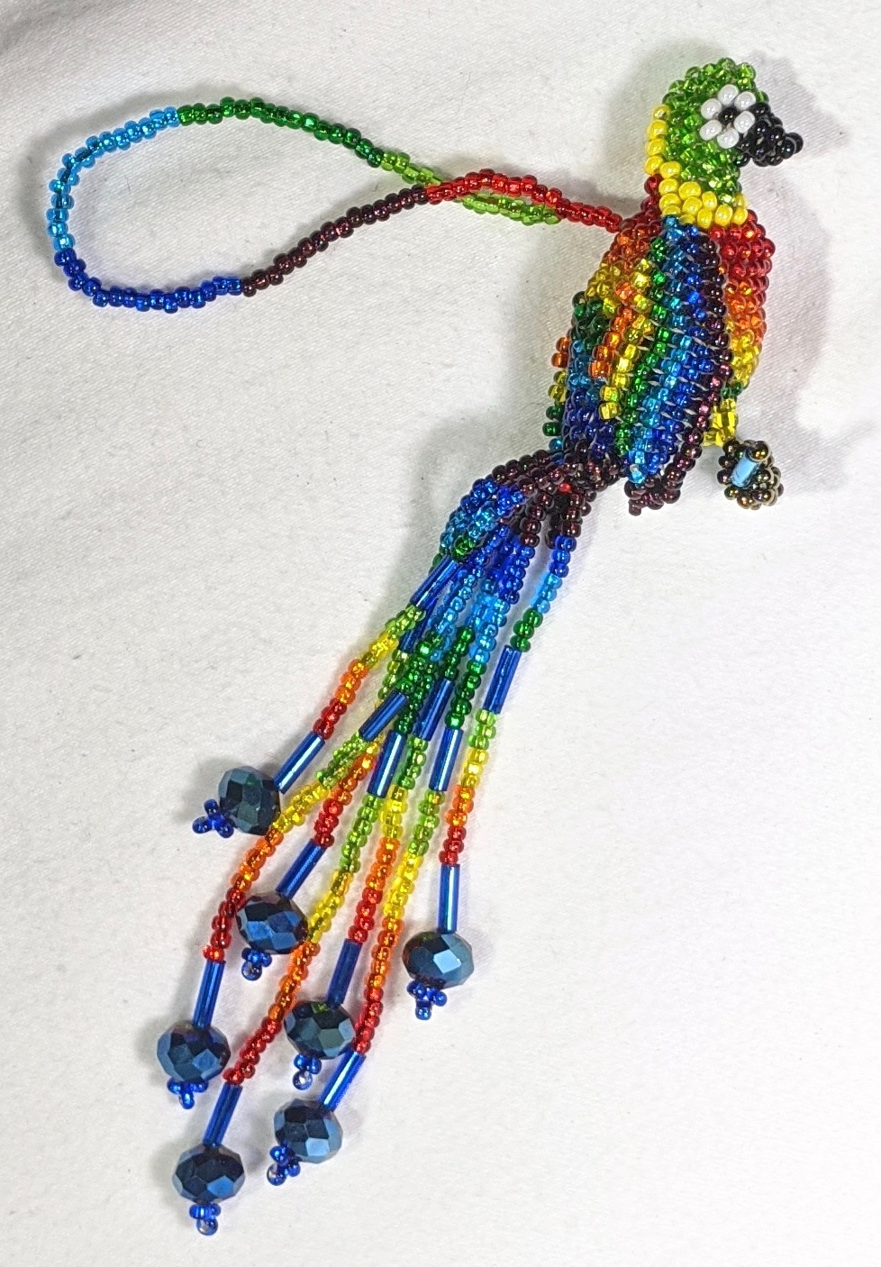 Parrot Beaded Ornament -  Rainbow with Blue Crystals