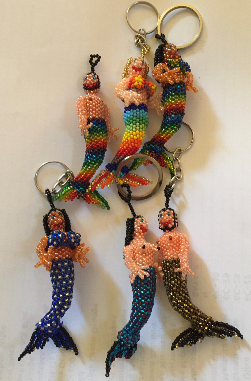 Mermaid and Merman Beaded Ornaments