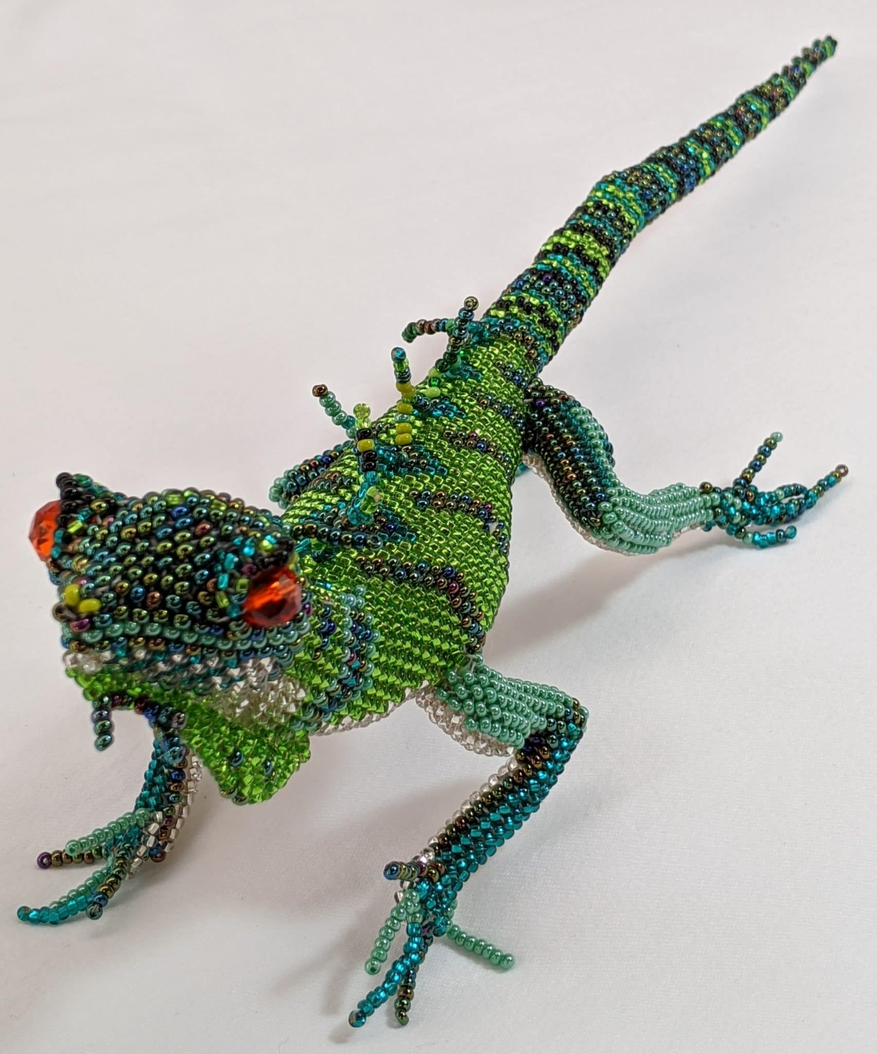 Large Lizard Beaded Table Ornament - Green