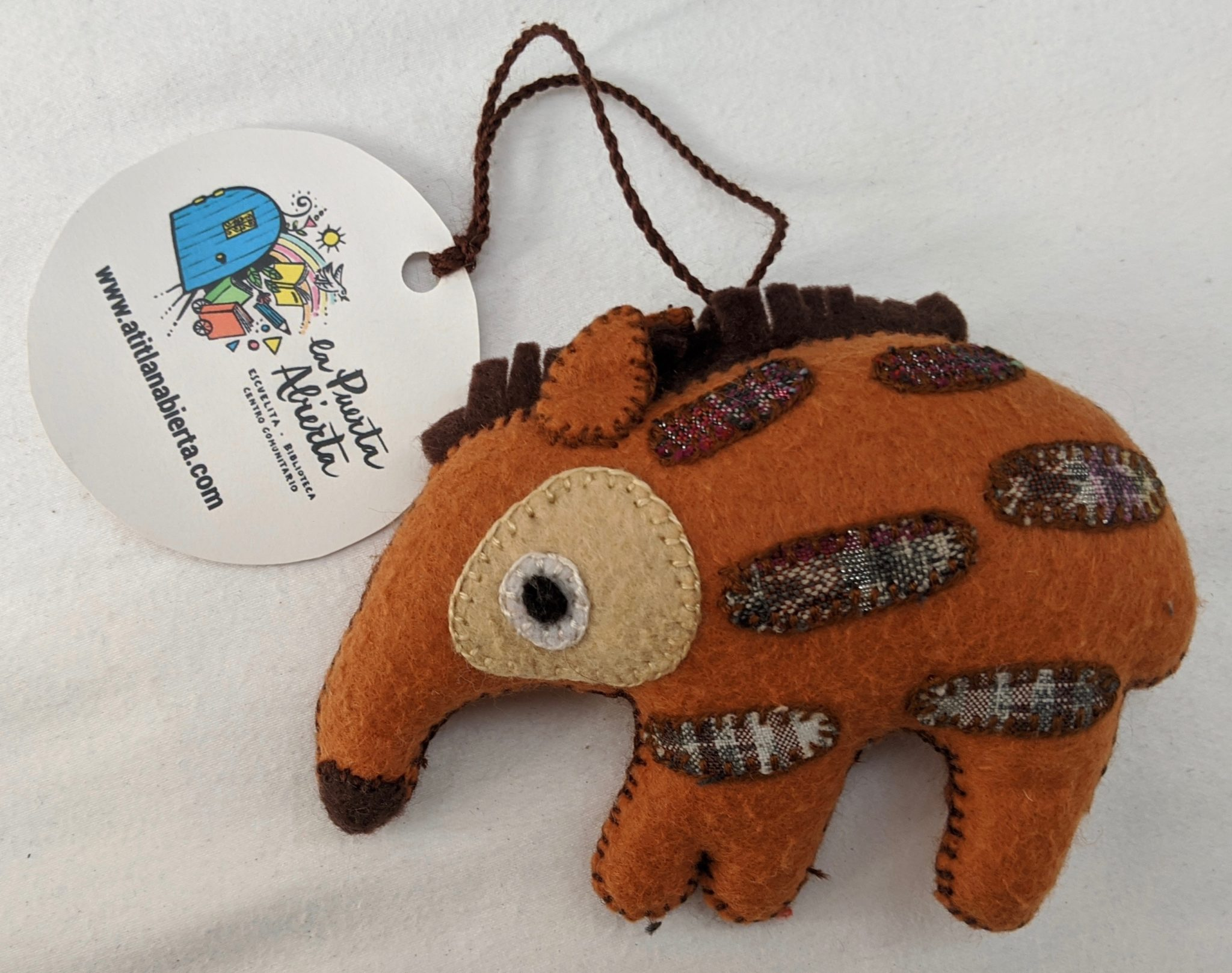 Anteater Ornament - Felt and Repurposed Traditional Fabric
