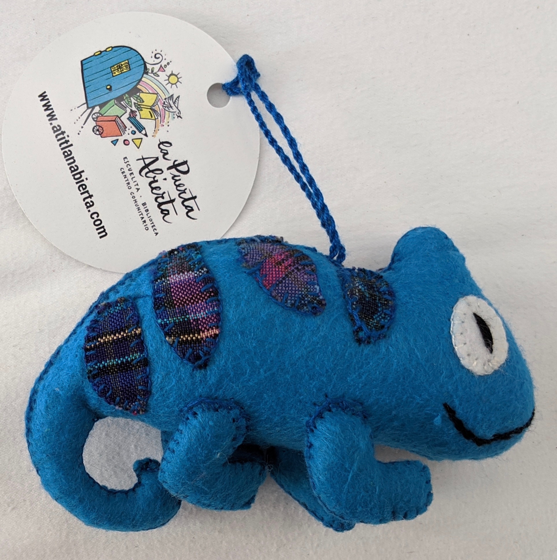 Chameleon Ornament - Felt and Repurposed Traditional Fabric