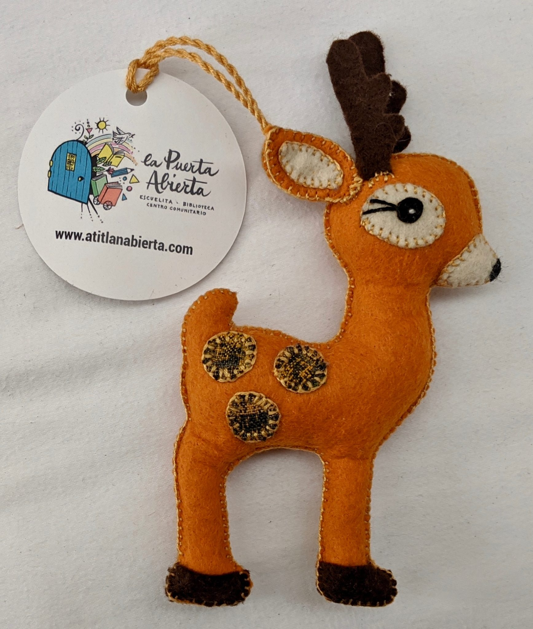 Fawn Ornament - Felt and Repurposed Traditional Fabric