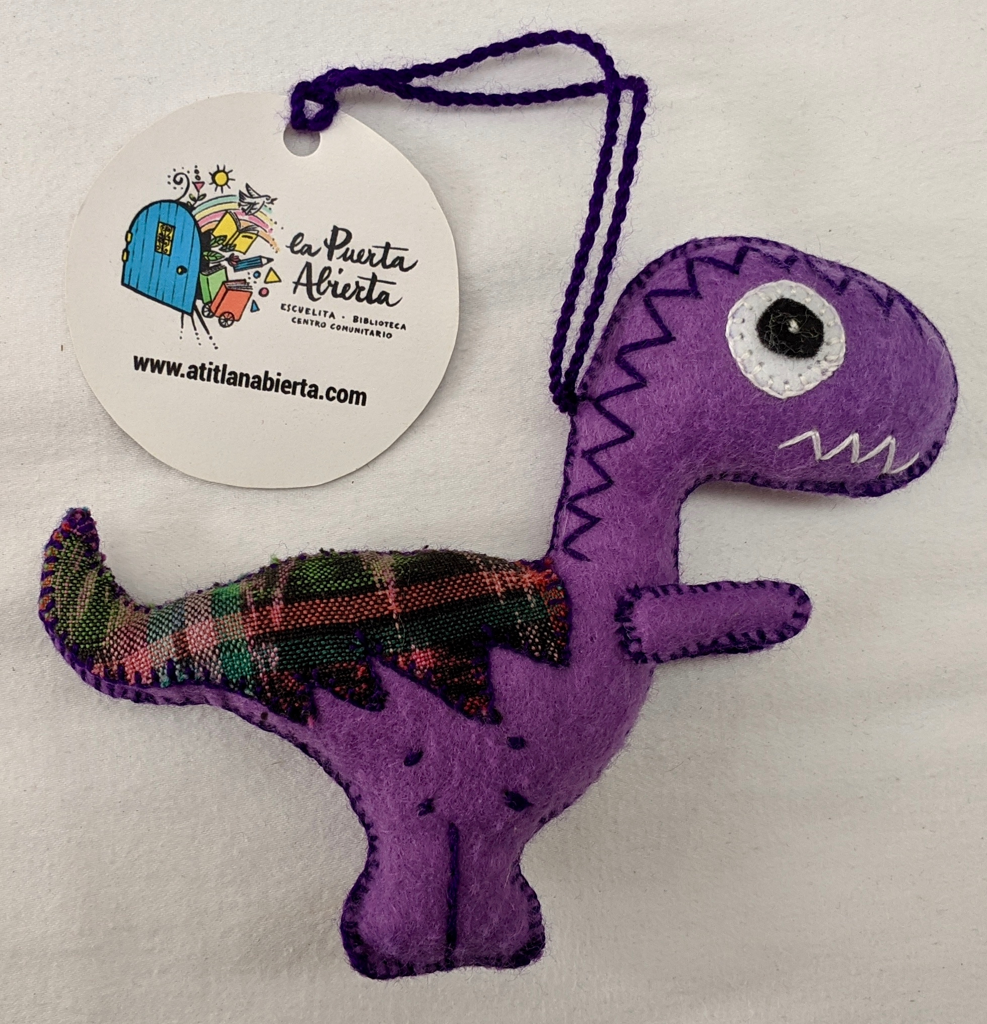 Tyrannosaurus Rex Ornament - Felt and Repurposed Traditional Fabric