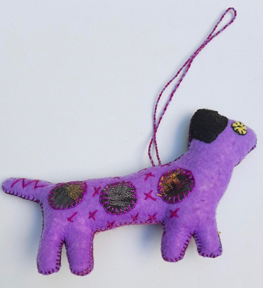 Long Dog Ornament - Felt and Repurposed Traditional Fabric