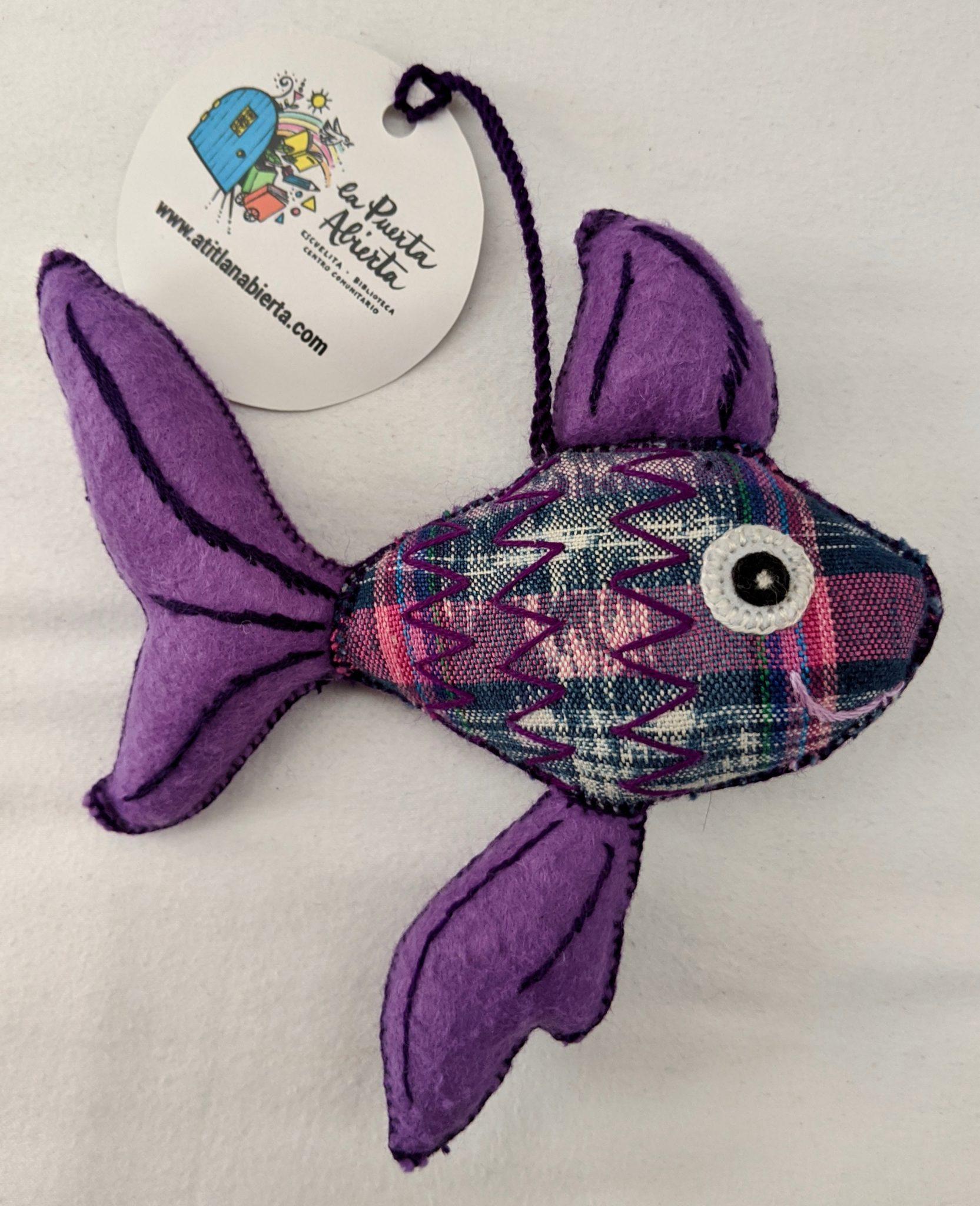 Fish Ornament - Felt and Repurposed Traditional Fabric