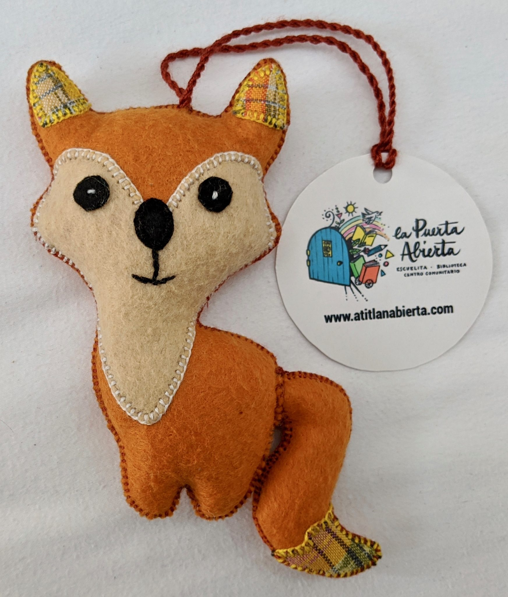 Fox Ornament - Felt and Repurposed Traditional Fabric