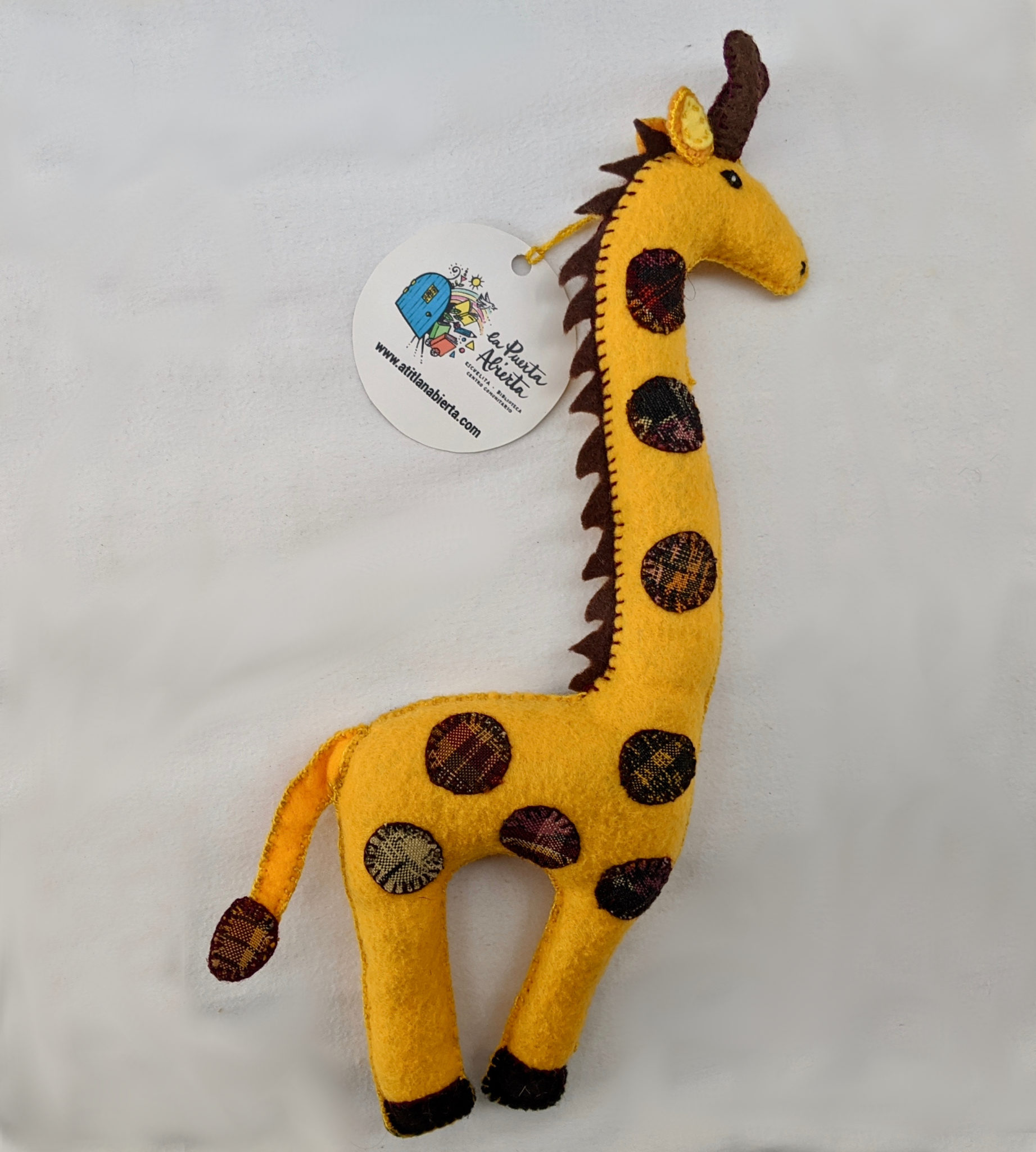 Giraffe Ornament - Large - Felt and Repurposed Traditional Fabric