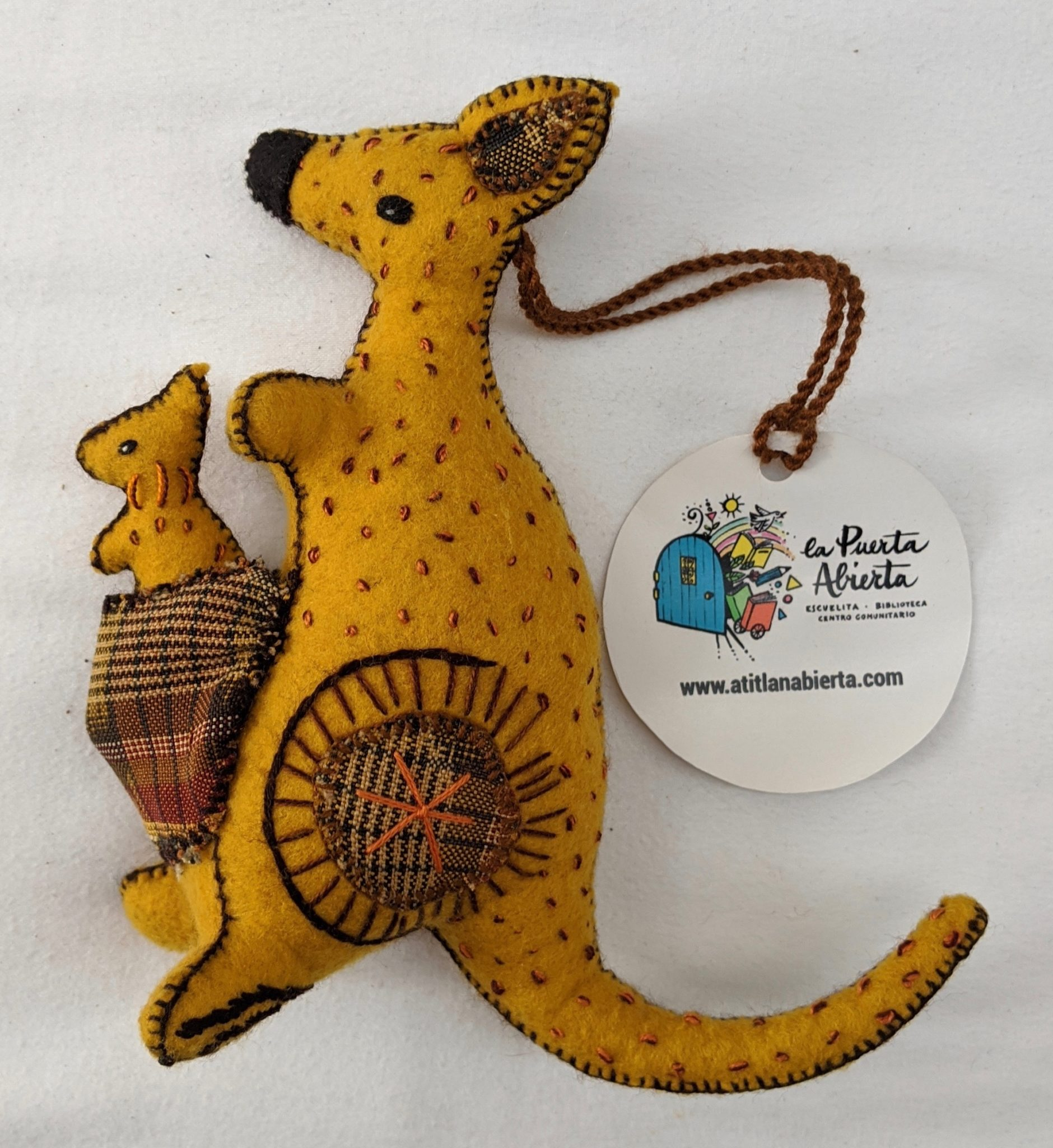 Kangaroo Ornament - Felt and Repurposed Traditional Fabric