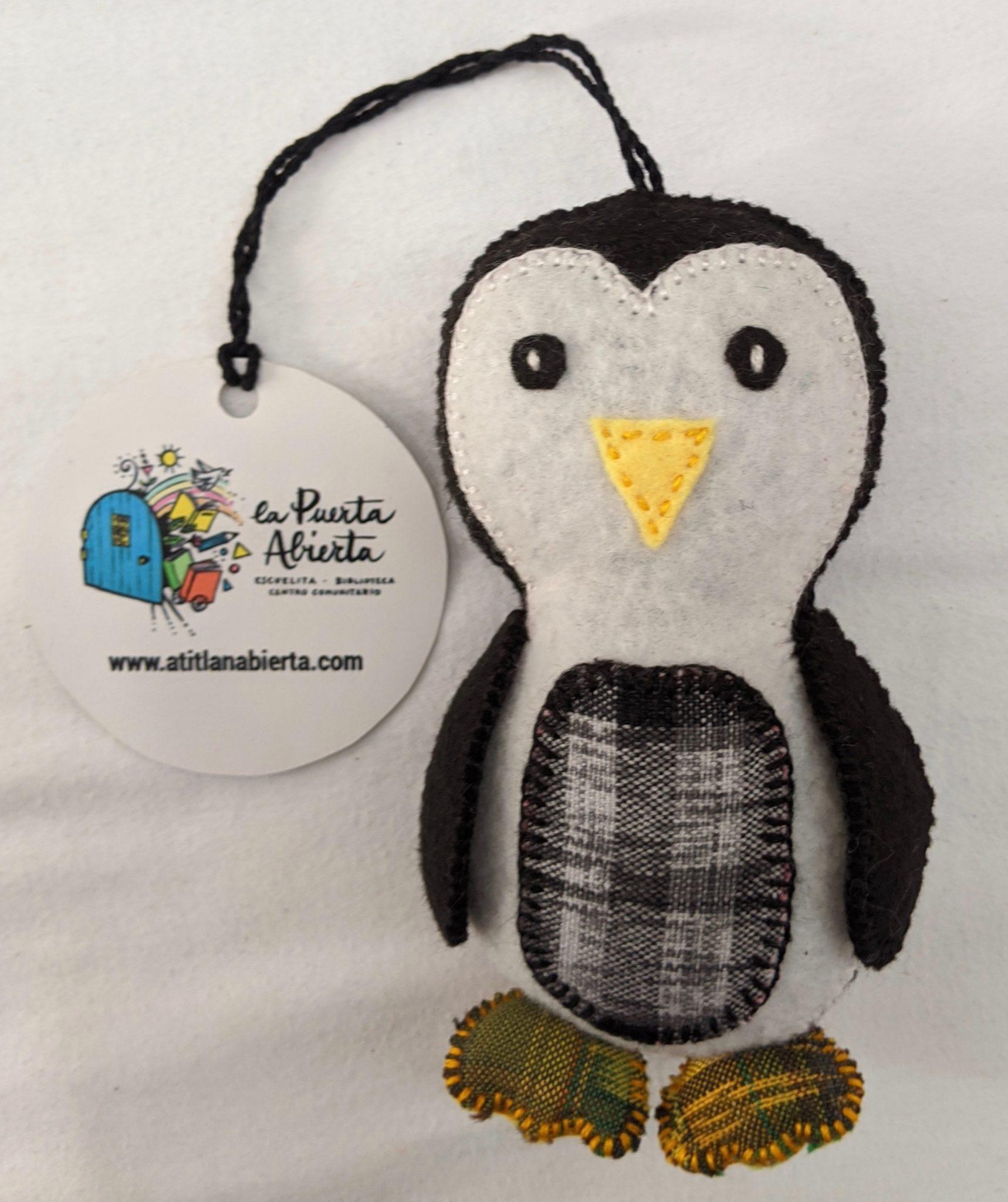 Penguin Ornament - Felt and Repurposed Traditional Fabric