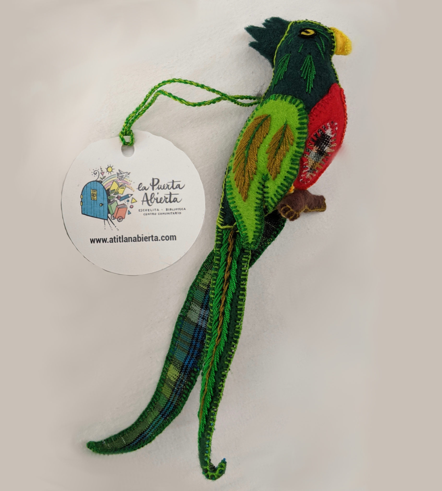 Quetzal Ornament - Felt and Repurposed Traditional Fabric