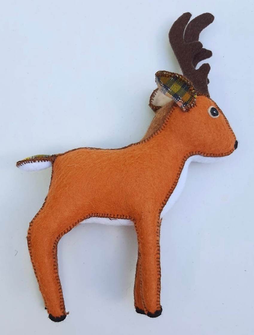 Reindeer Ornament - Felt and Repurposed Traditional Fabric