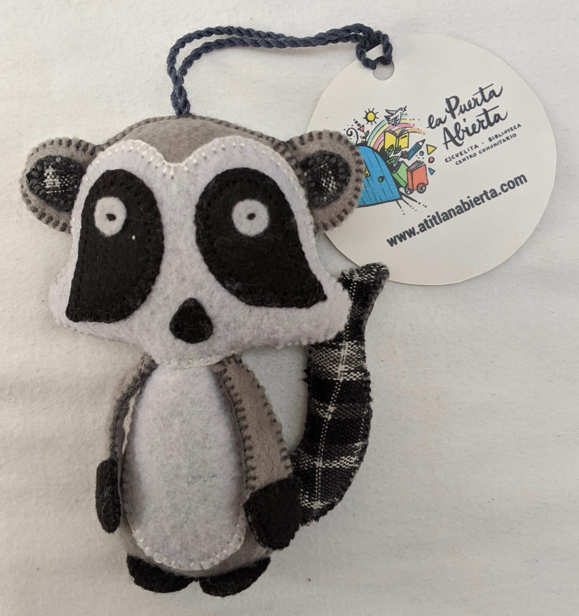 Raccoon Ornament - Felt and Repurposed Traditional Fabric