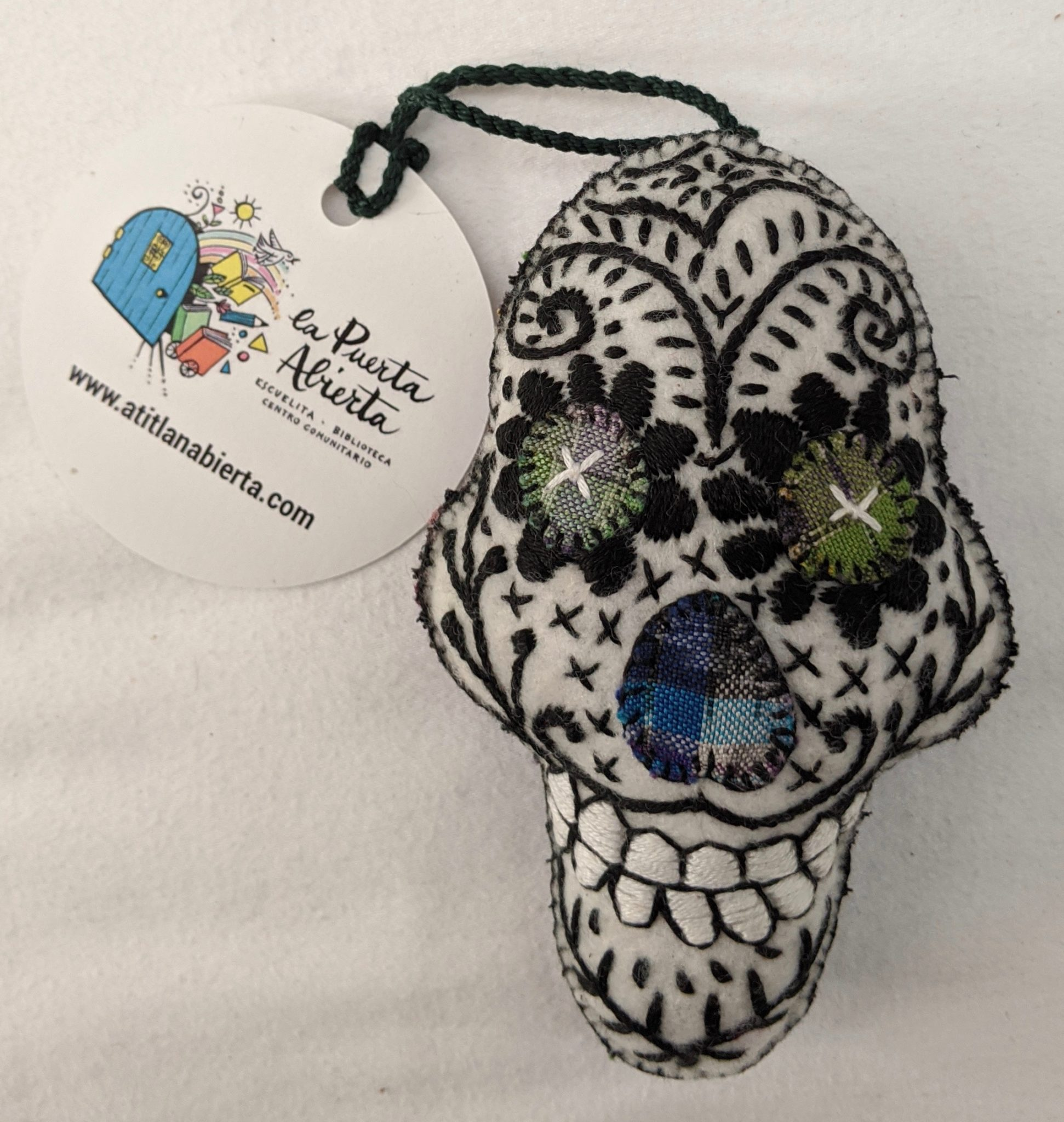 Skull Ornament - Felt and Repurposed Traditional Fabric