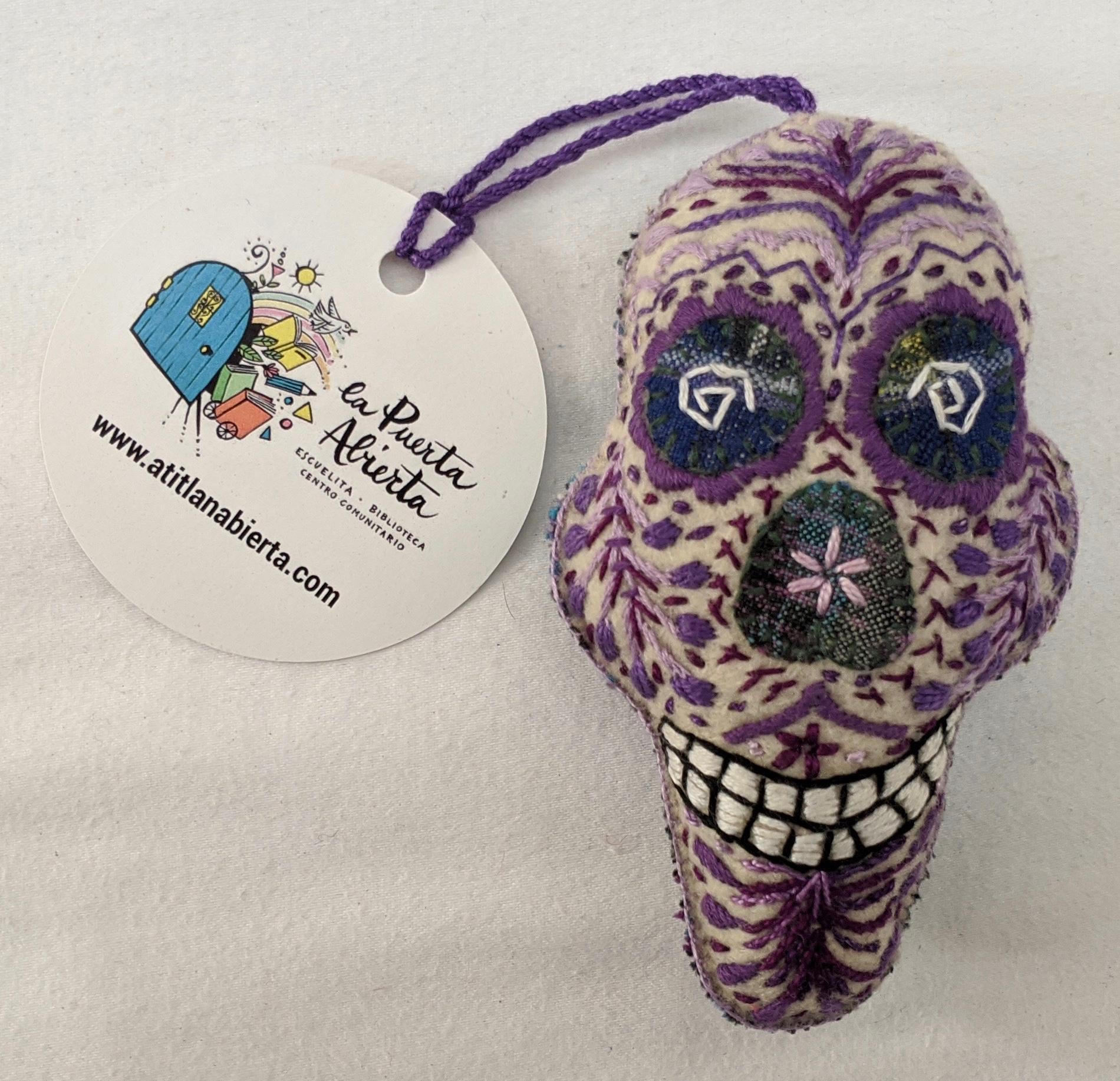 Skull Ornament - Felt and Repurposed Traditional Fabric