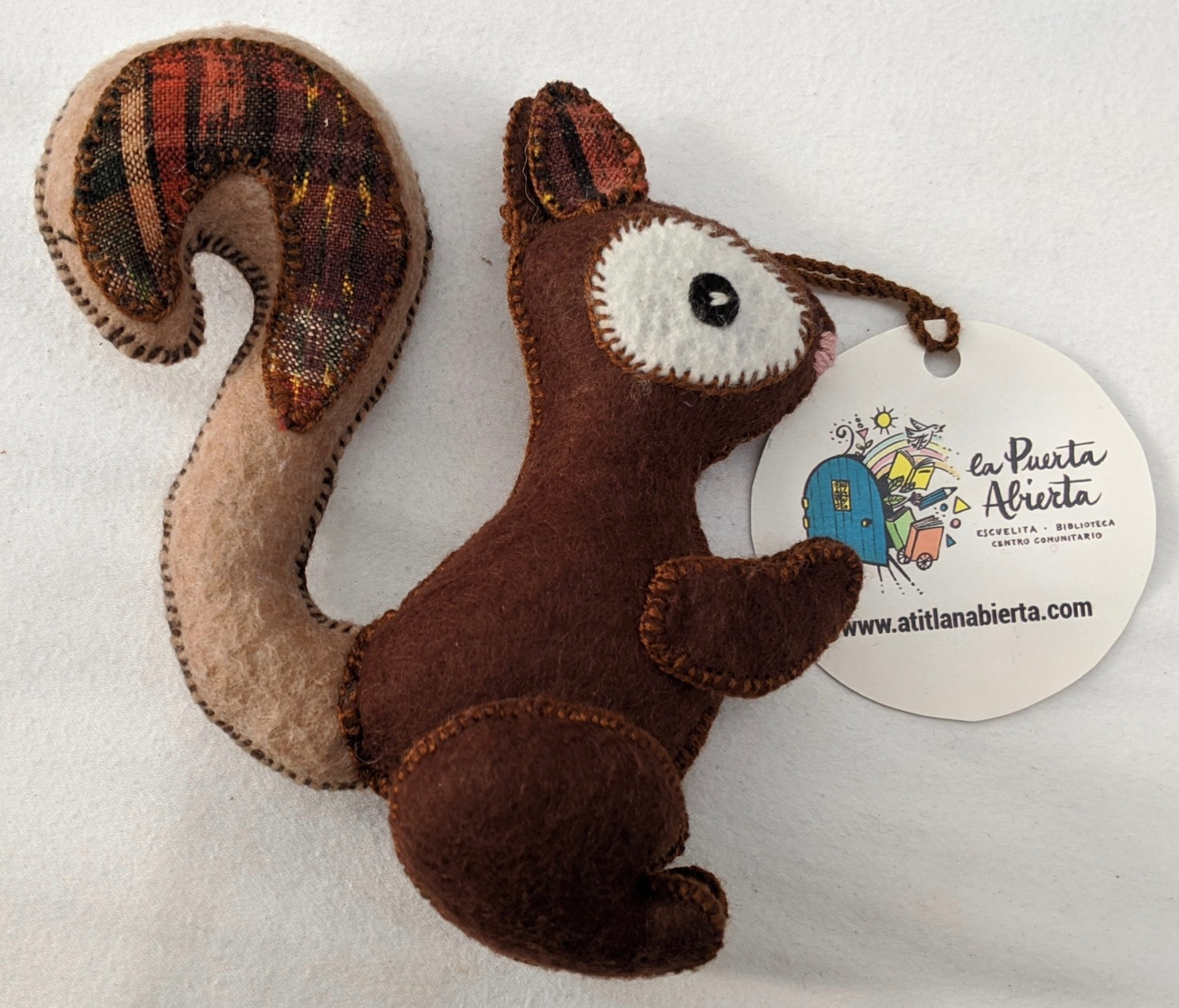 Squirrel Ornament - Felt and Repurposed Traditional Fabric