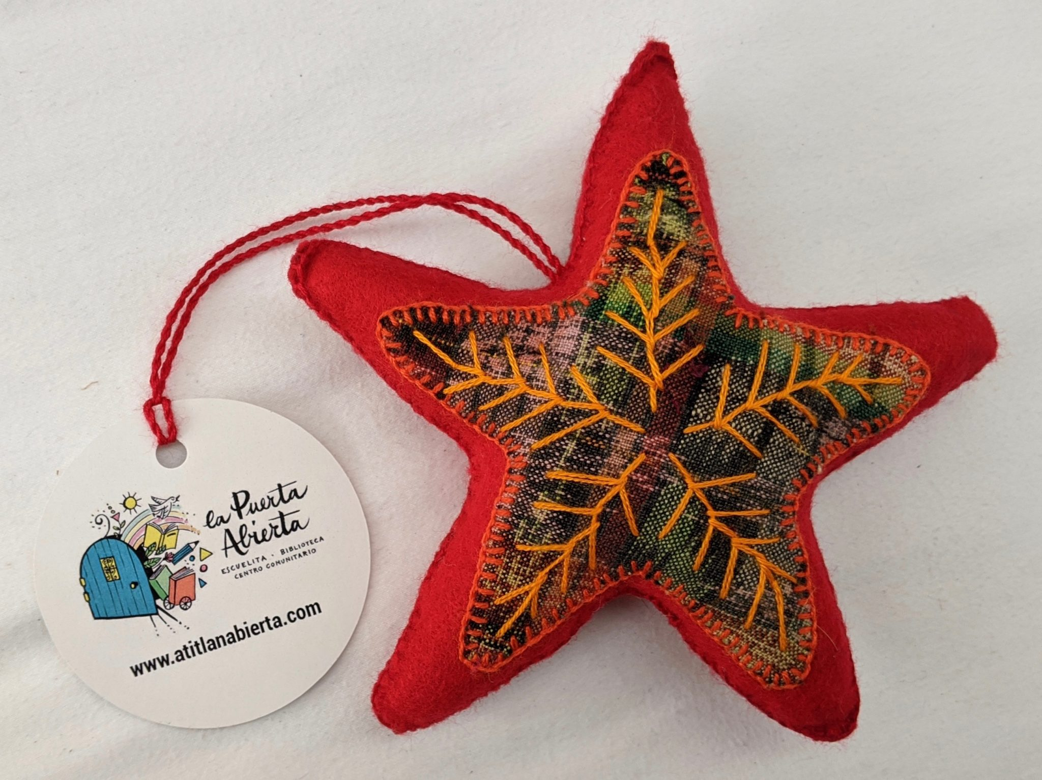 Star Ornament - Felt and Repurposed Traditional Fabric